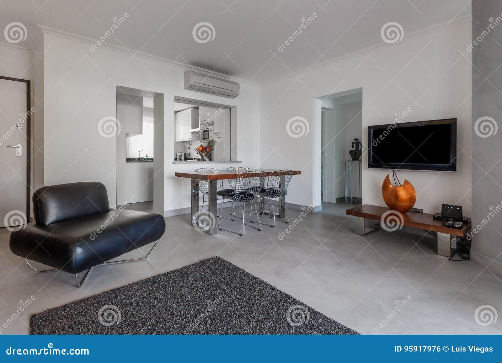 Appartamento moderno con le pareti bianche ed il pavimento grigio