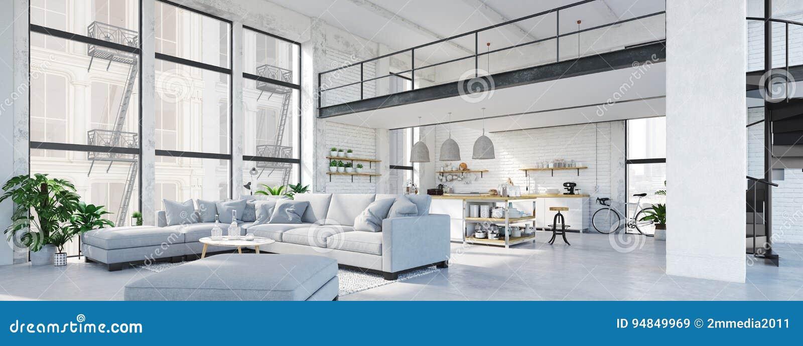 Appartamento moderno del sottotetto rappresentazione 3d