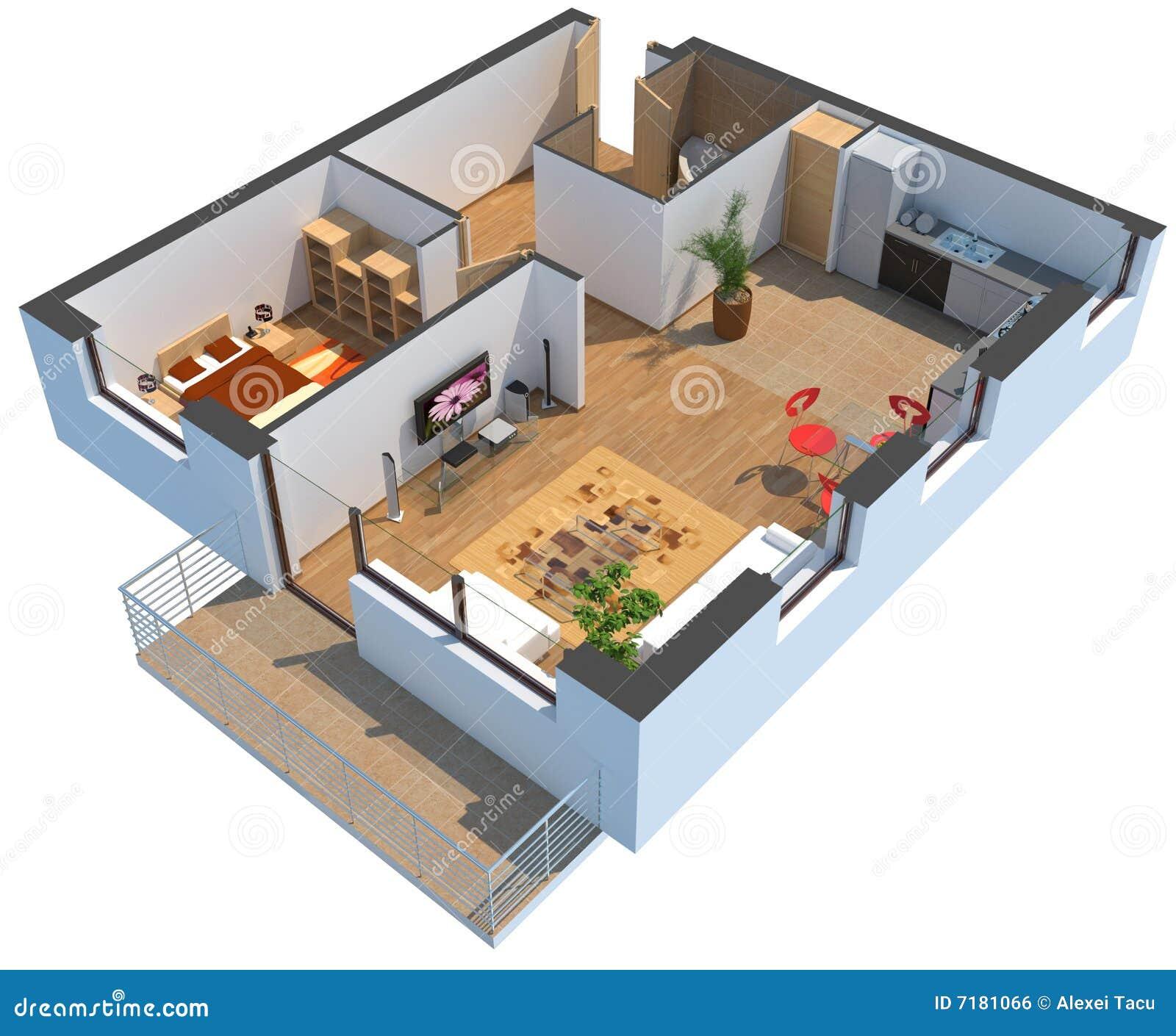 Appartamento sezionato 3d con il percorso di residuo della for Mobilia arredamento 3d