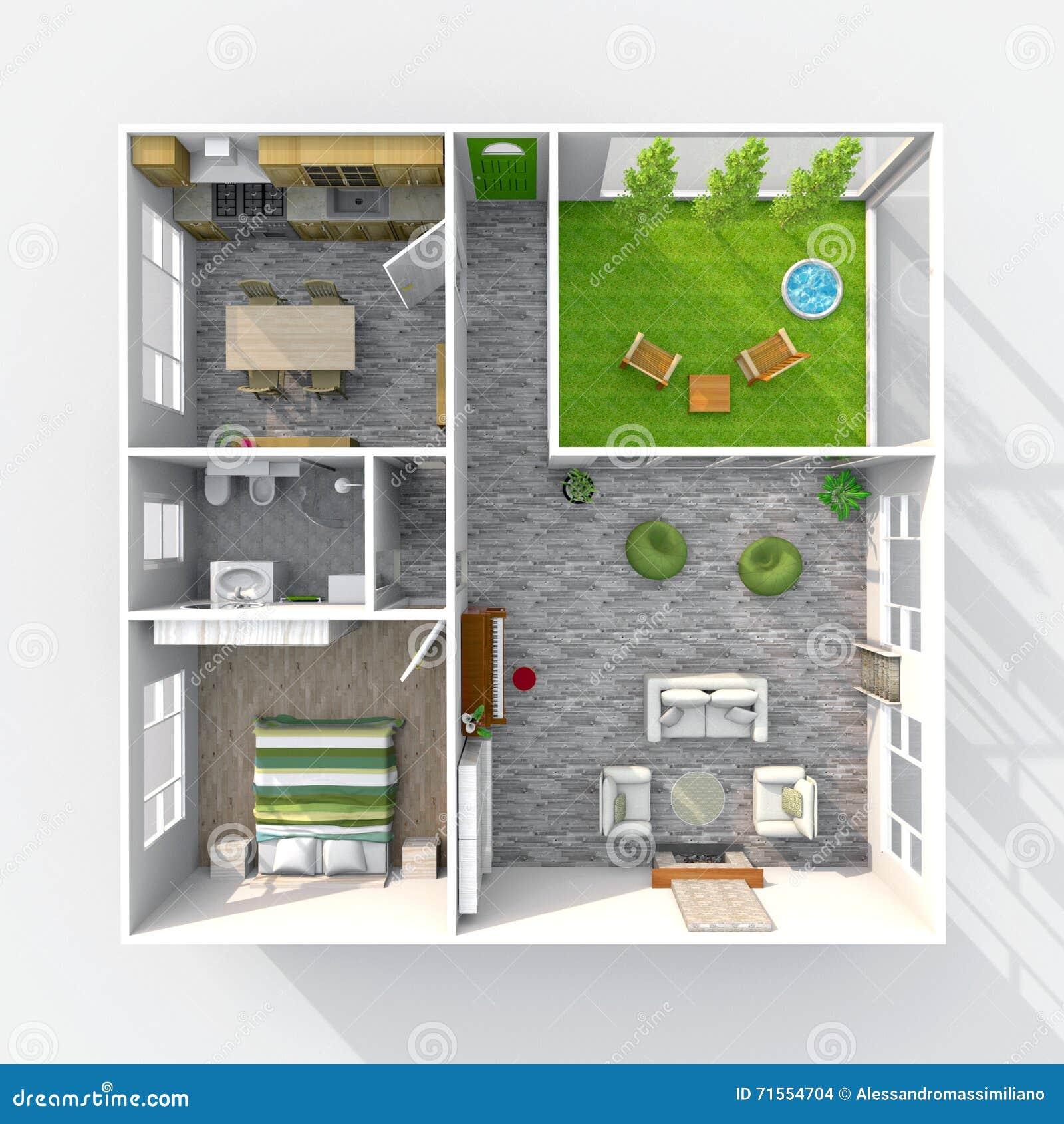 Interesting appartement la maison meubl avec le patio vert for Appartement avec patio