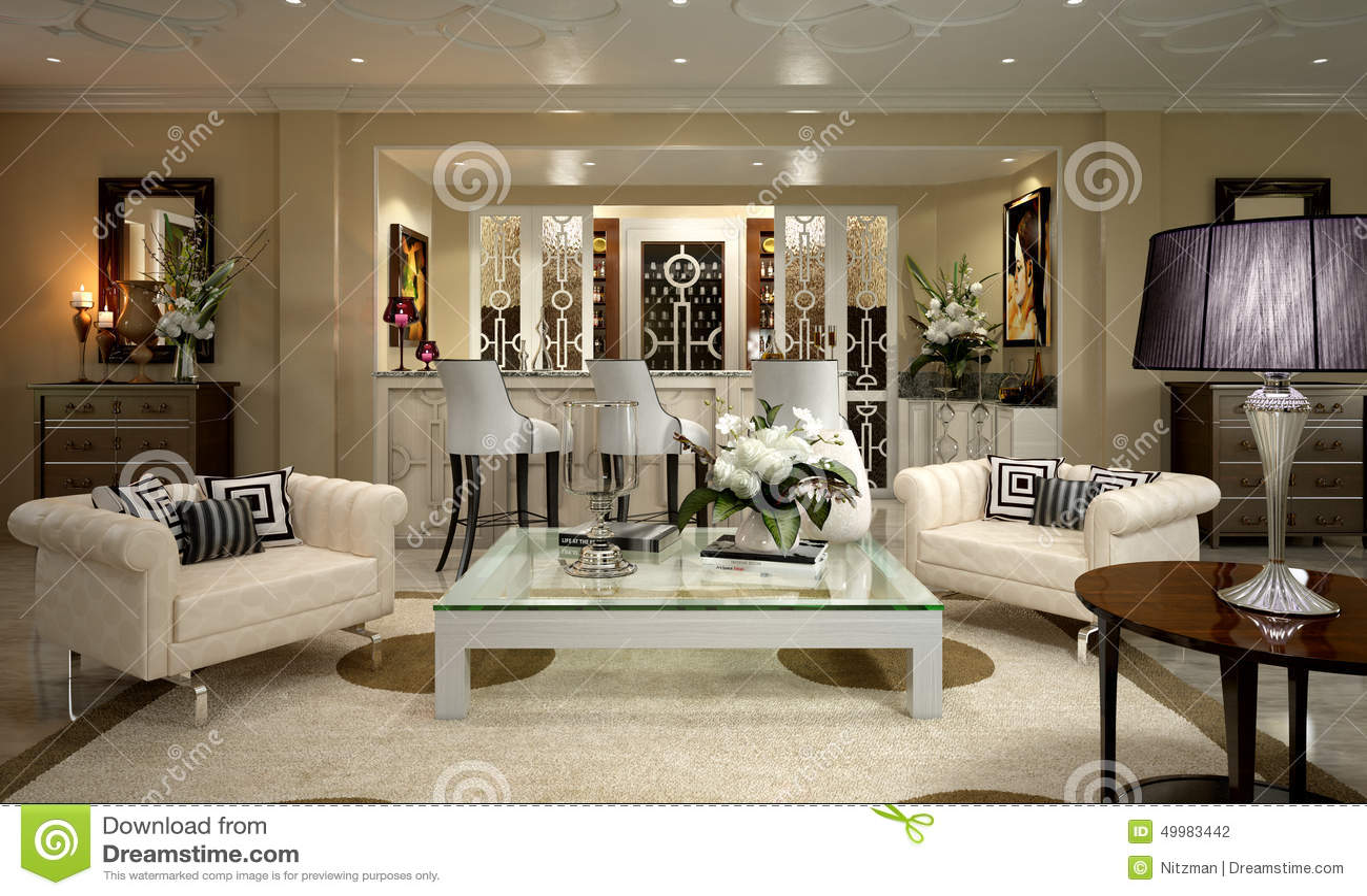 Appartement d 39 art d co illustration stock image 49983442 for Comdeco interieur appartement