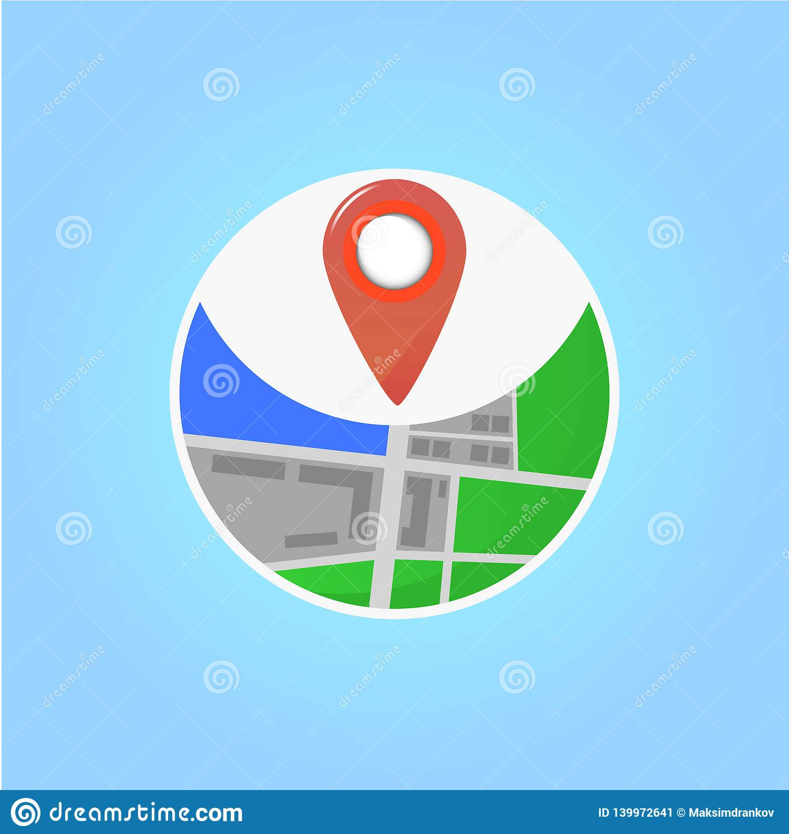 Appartement d icône de Geolocation dirigez l illustration dans la conception plate sur le fond bleu