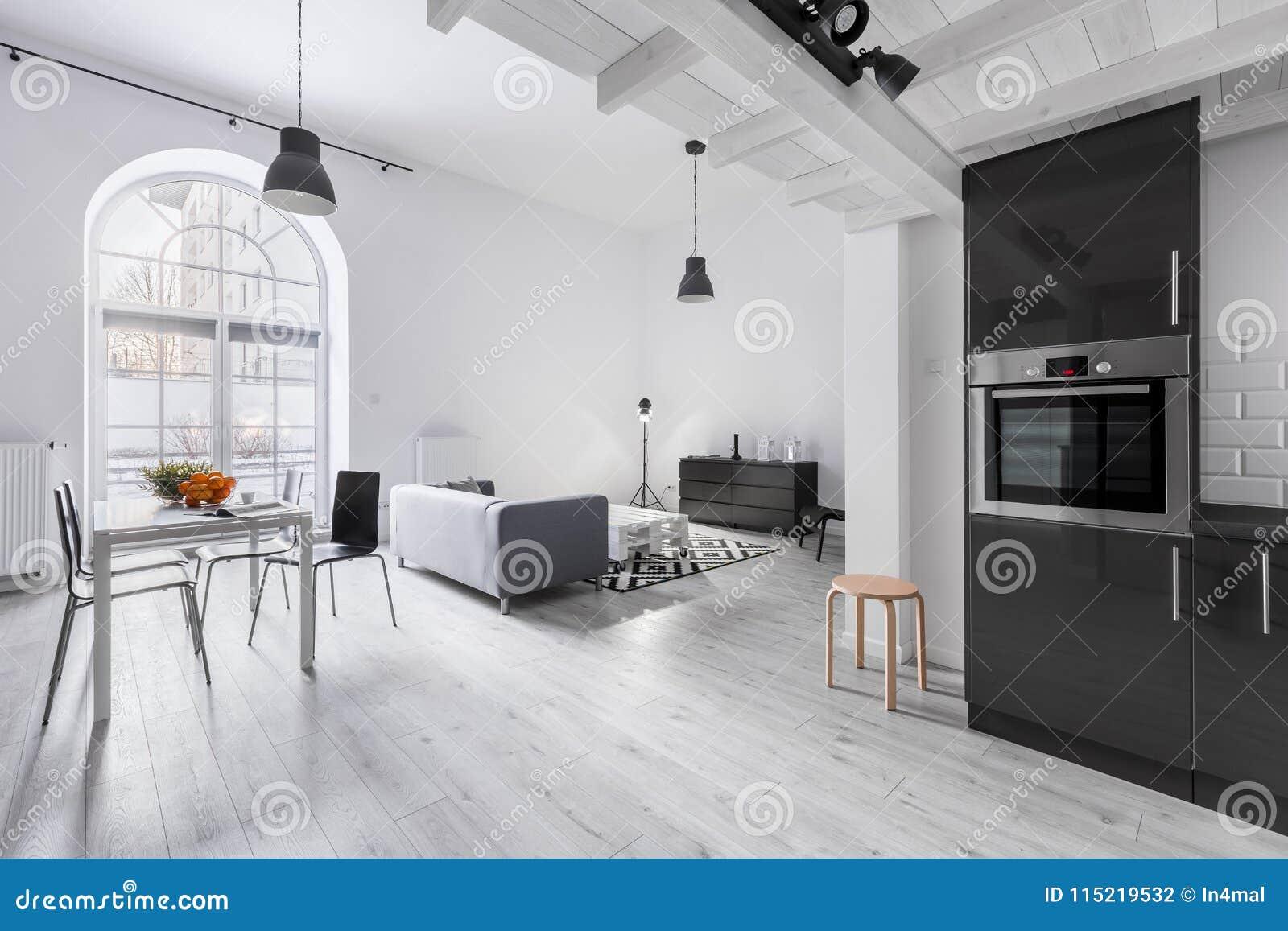 Salon Cuisine Style Industriel appartement dans le style industriel photo stock - image du