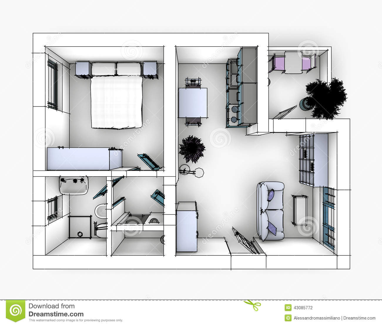 Appartement De Dessin Illustration Stock Image 43085772