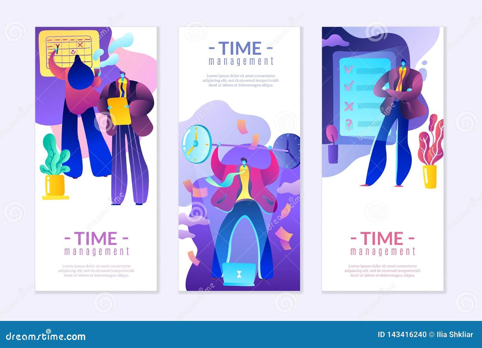 Appartement moderne sur la gestion du temps, la gestion financière et les affaires, dans des couleurs lumineuses et à la mode
