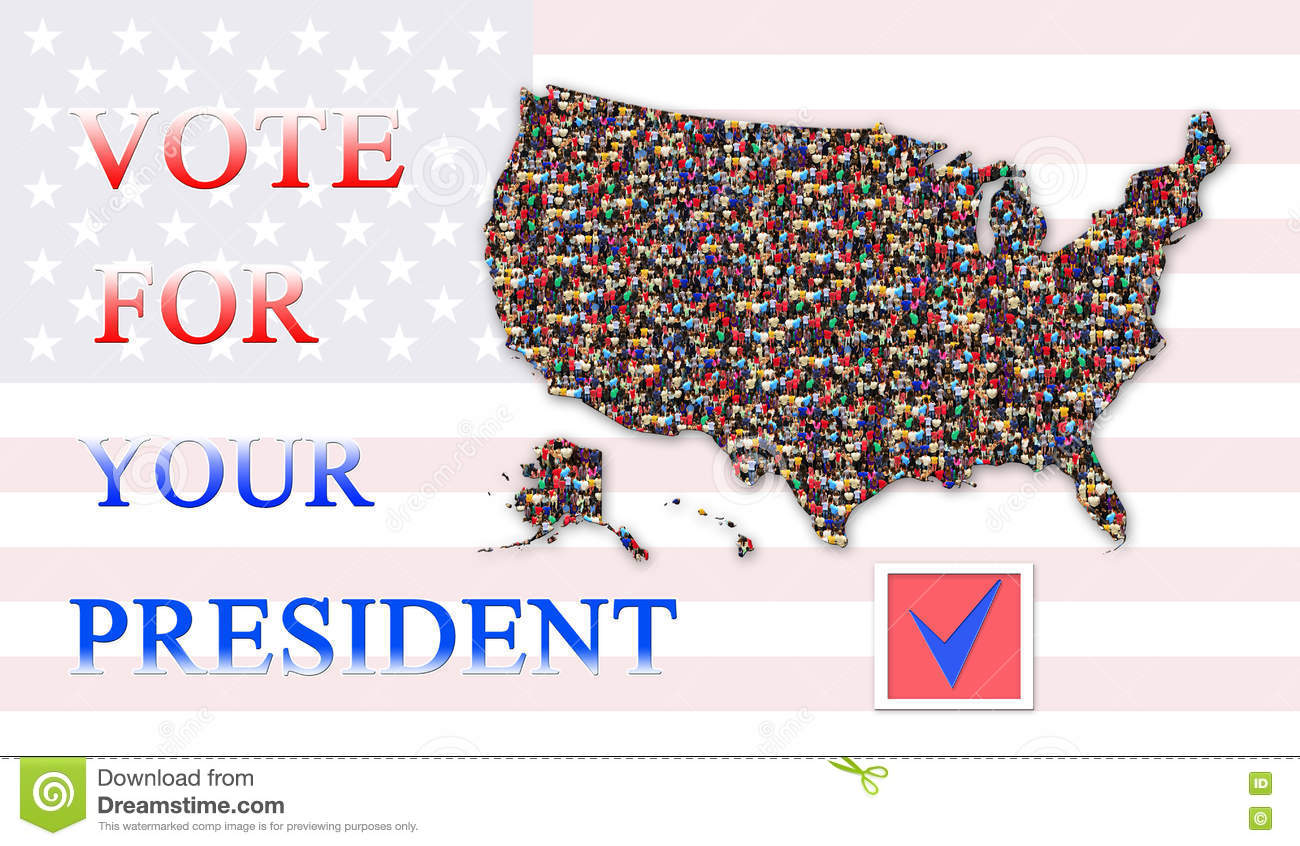 Appeal To Vote On Presidential Election With Map Of Usa Stock Photo