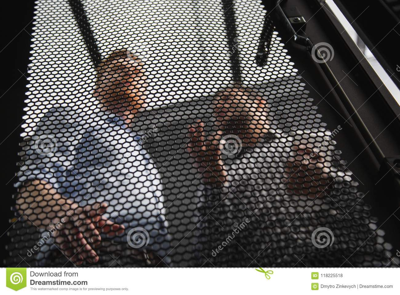 Download Appealing Two Colleagues Talking About Server Closet Stock Photo    Image Of Service, Expert