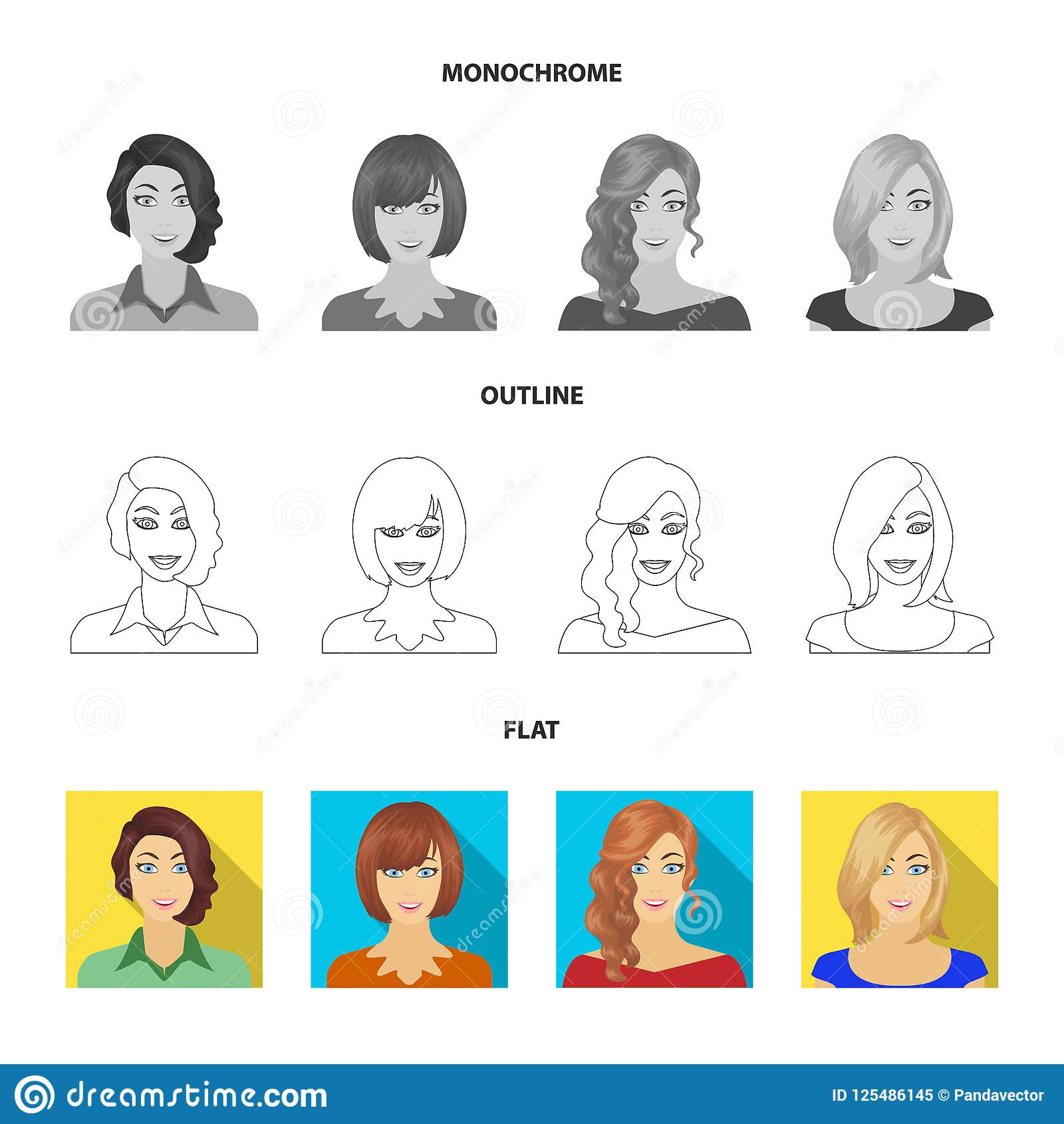 The appearance of a woman with a hairdo, the face of a girl. Face and appearance set collection icons in flat,outline