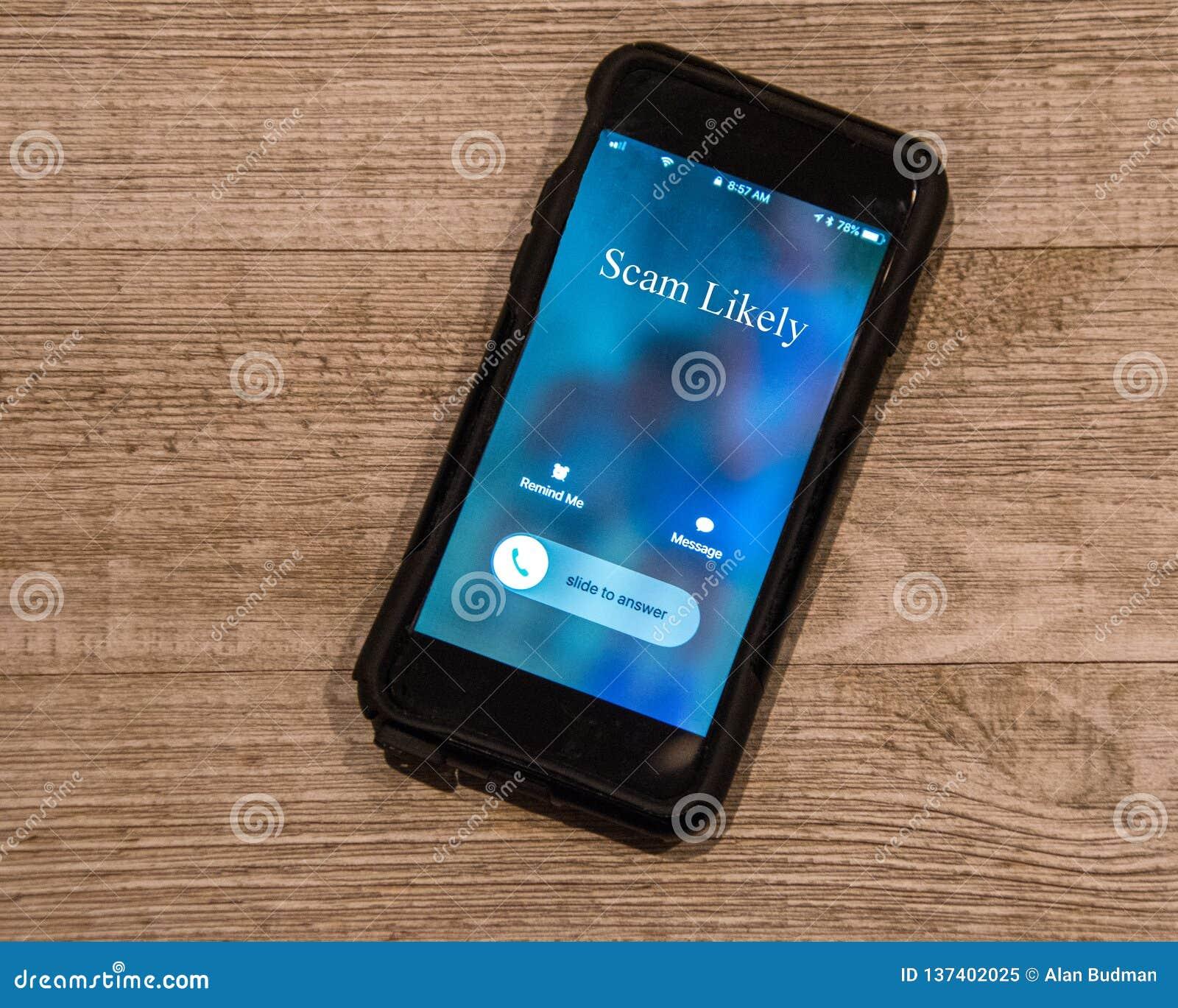 Appel d apparence de téléphone portable de, Spam vraisemblablement