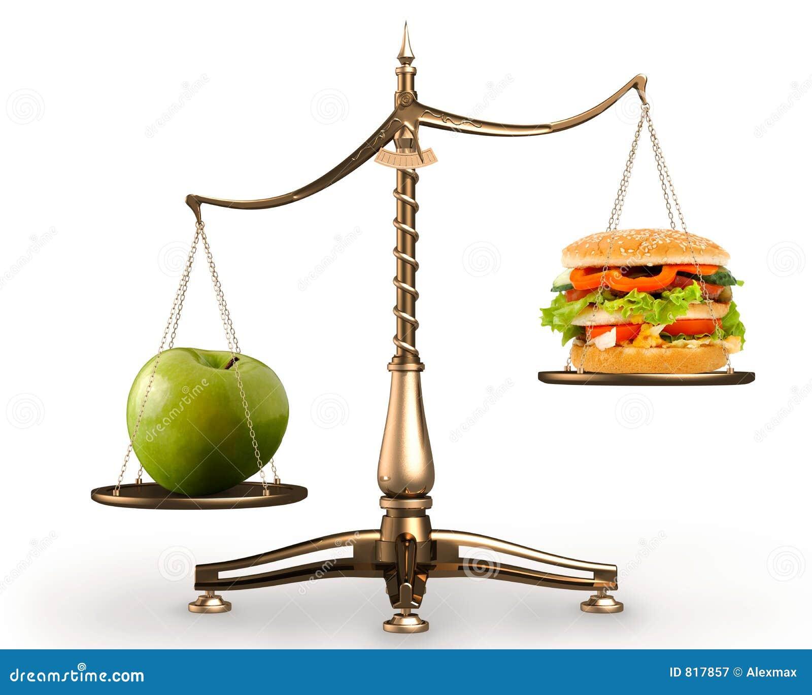 Appel en hamburger op schalen conceptuele huren