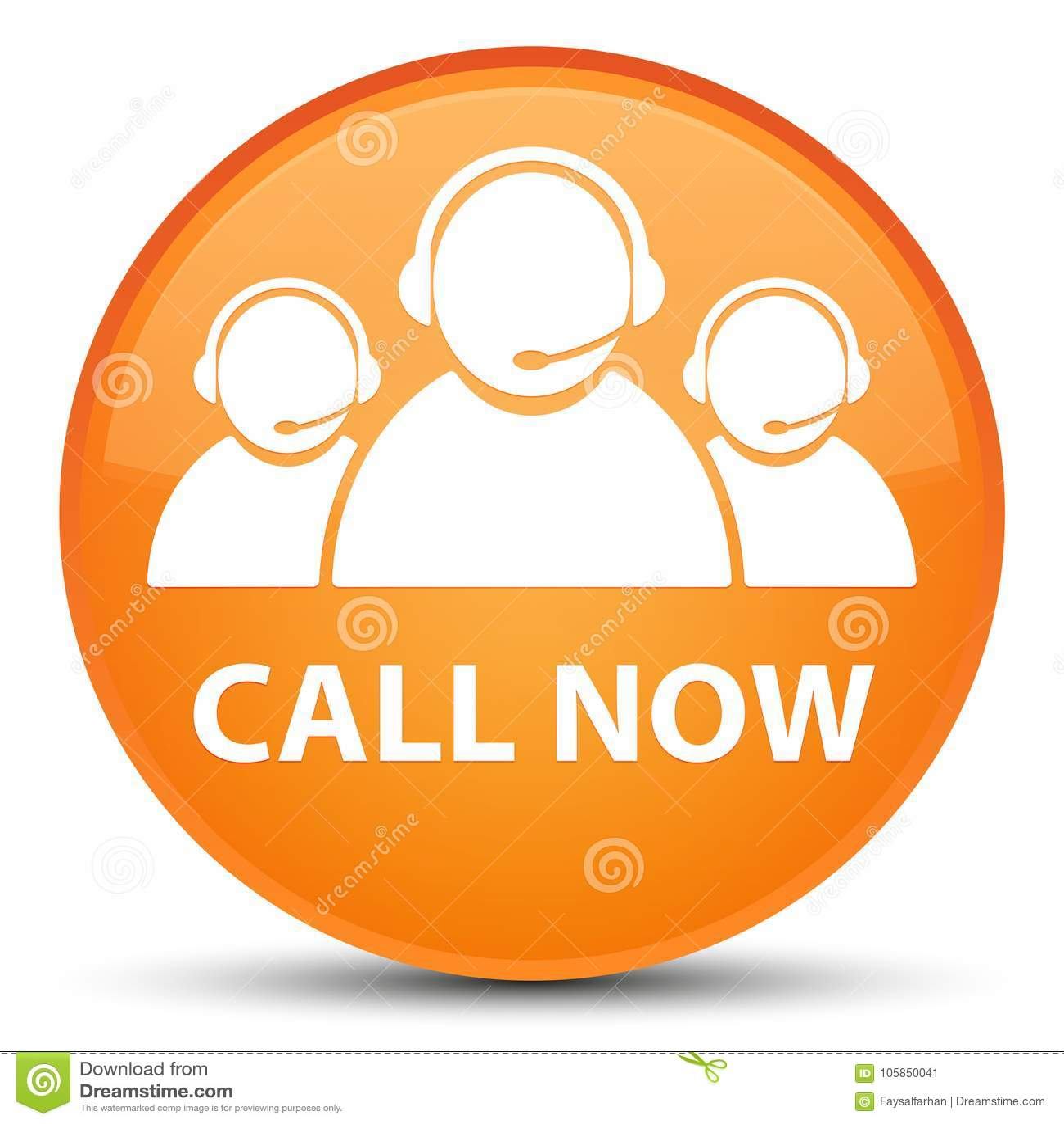 Appelez maintenant (icône d équipe de soin de client) le bouton rond orange spécial