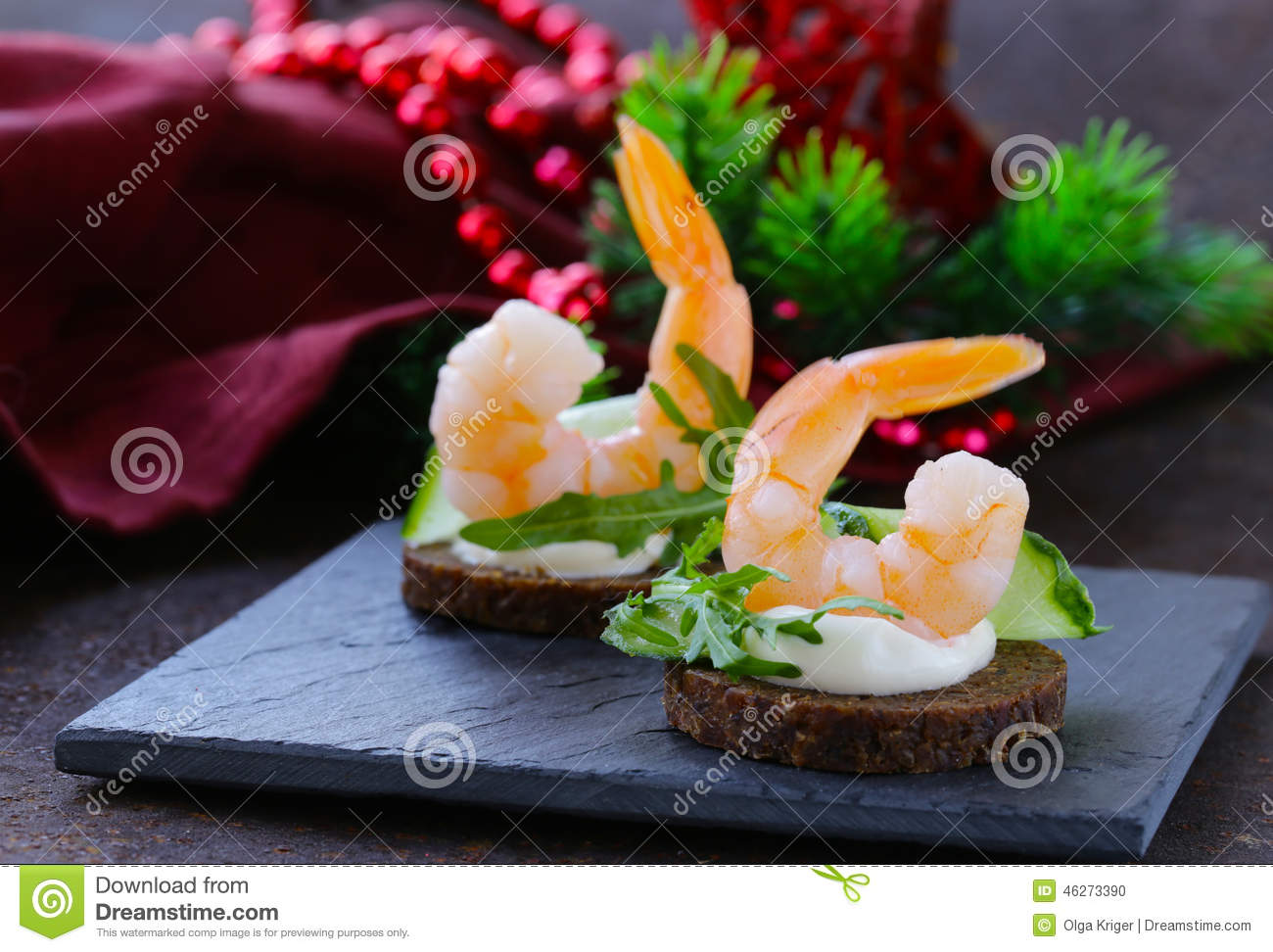Appetizer canape with arugula and shrimp for What is a canape appetizer