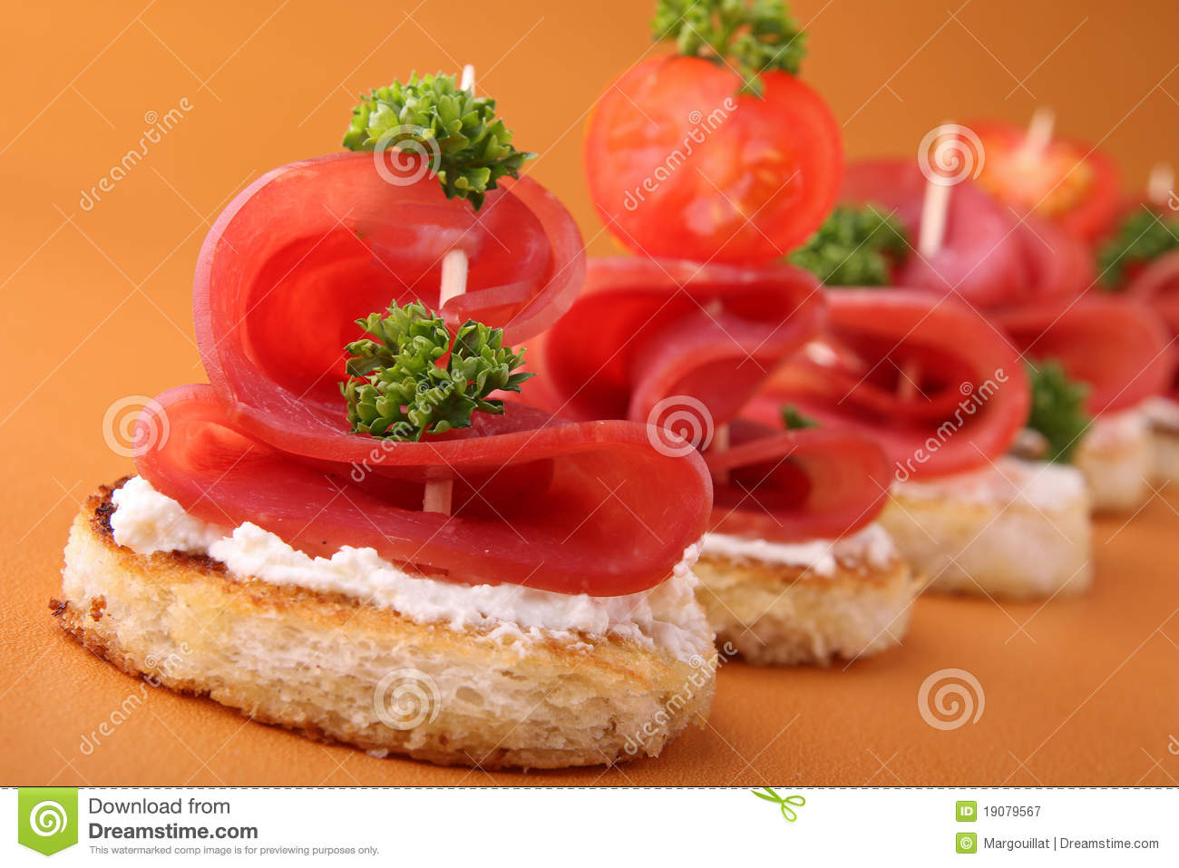 Appetizer canapes stock image image of blini canape for Appetizer canape