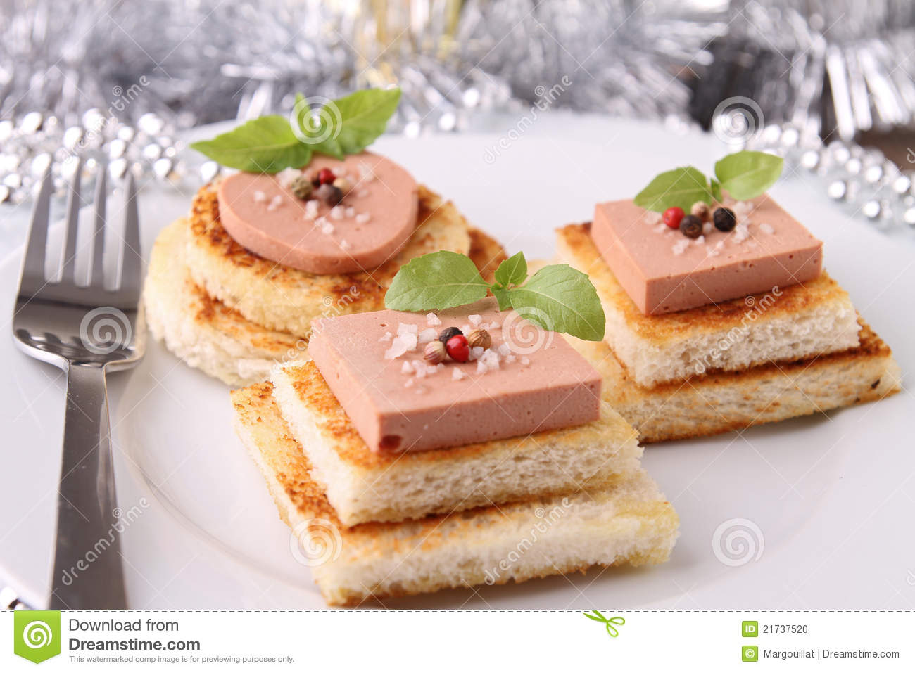 Appetizer canapes stock photo image of liver meat for Decoration canape
