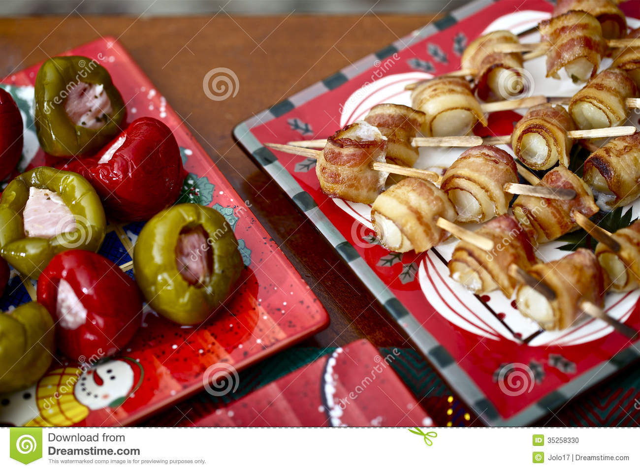 Christmas appetizer,paprika with bacon and scallop with bacon on the ...