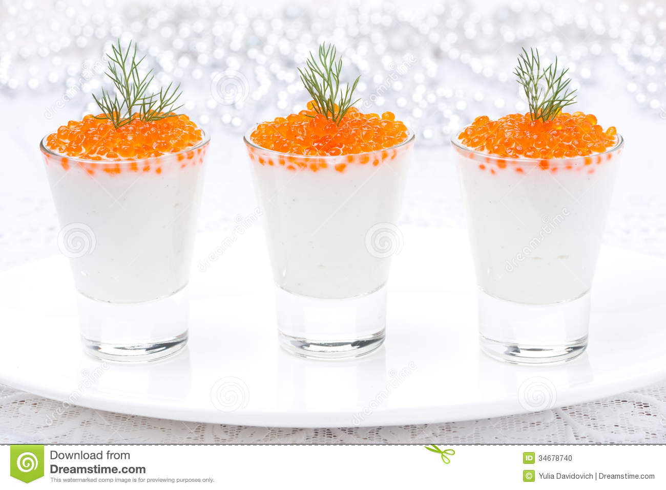 ... Cheese And Red Caviar For Christmas Stock Photo - Image: 34678740