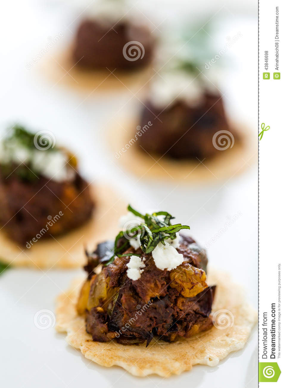 Micro Bruschetta of Chocolate Eggplant Caponata with Chocolate ...