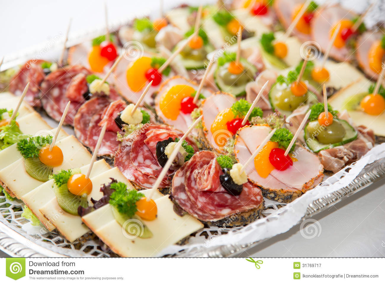 Appetizers On A Plate At Buffet Stock Image Image Of