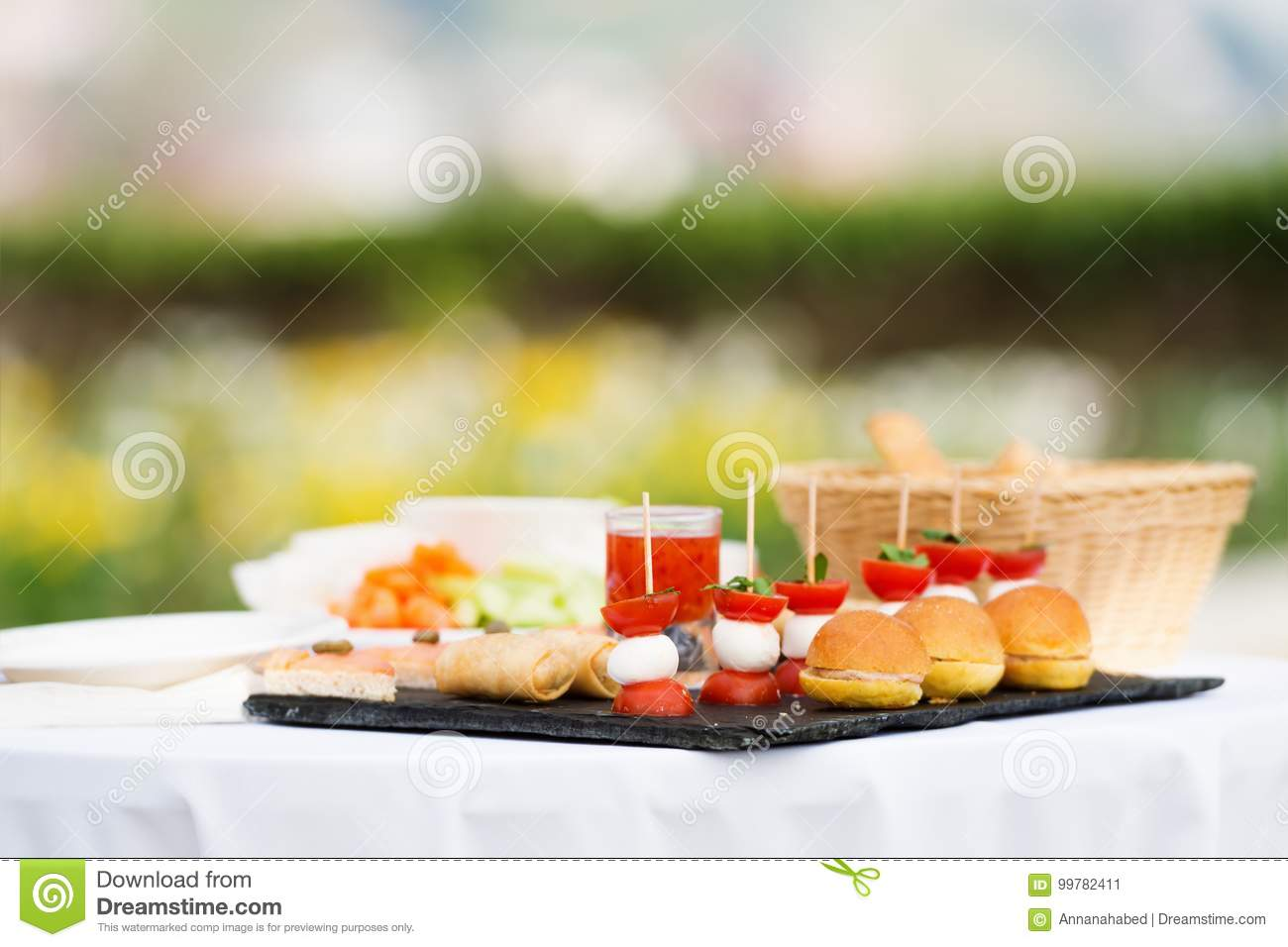Appetizers On Some Festive Event Stock Image Image Of Event Dish