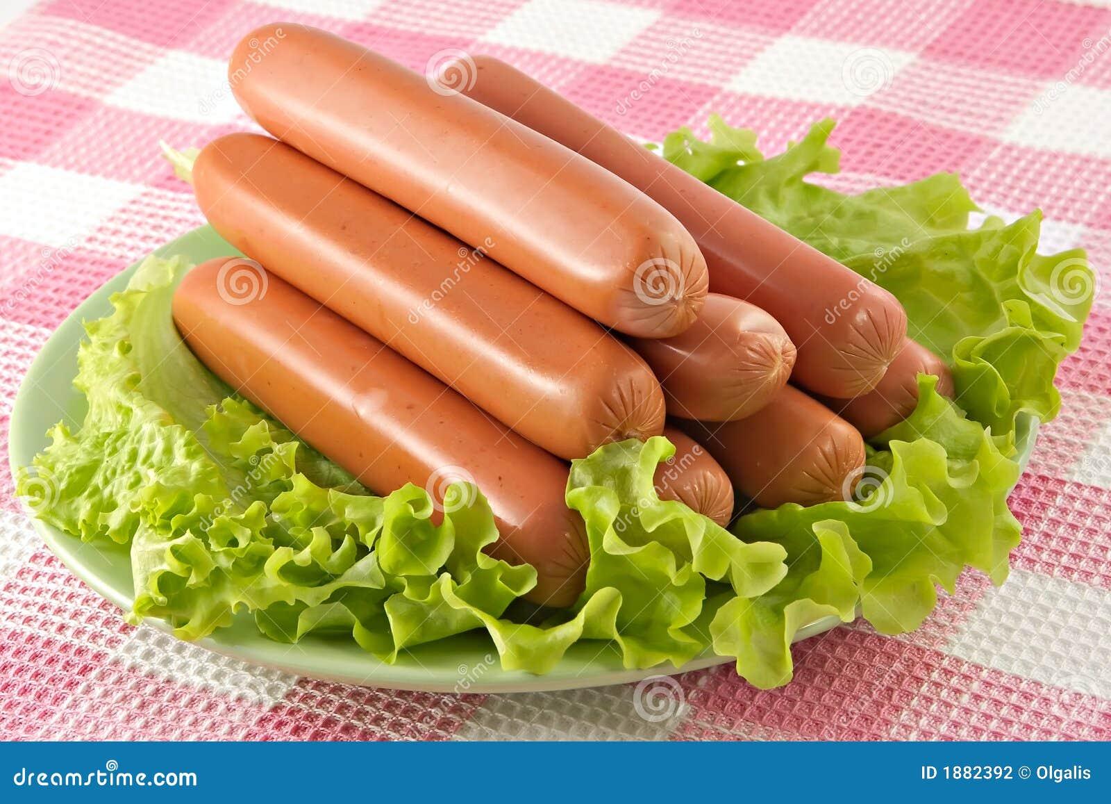 Appetizing pork sausages