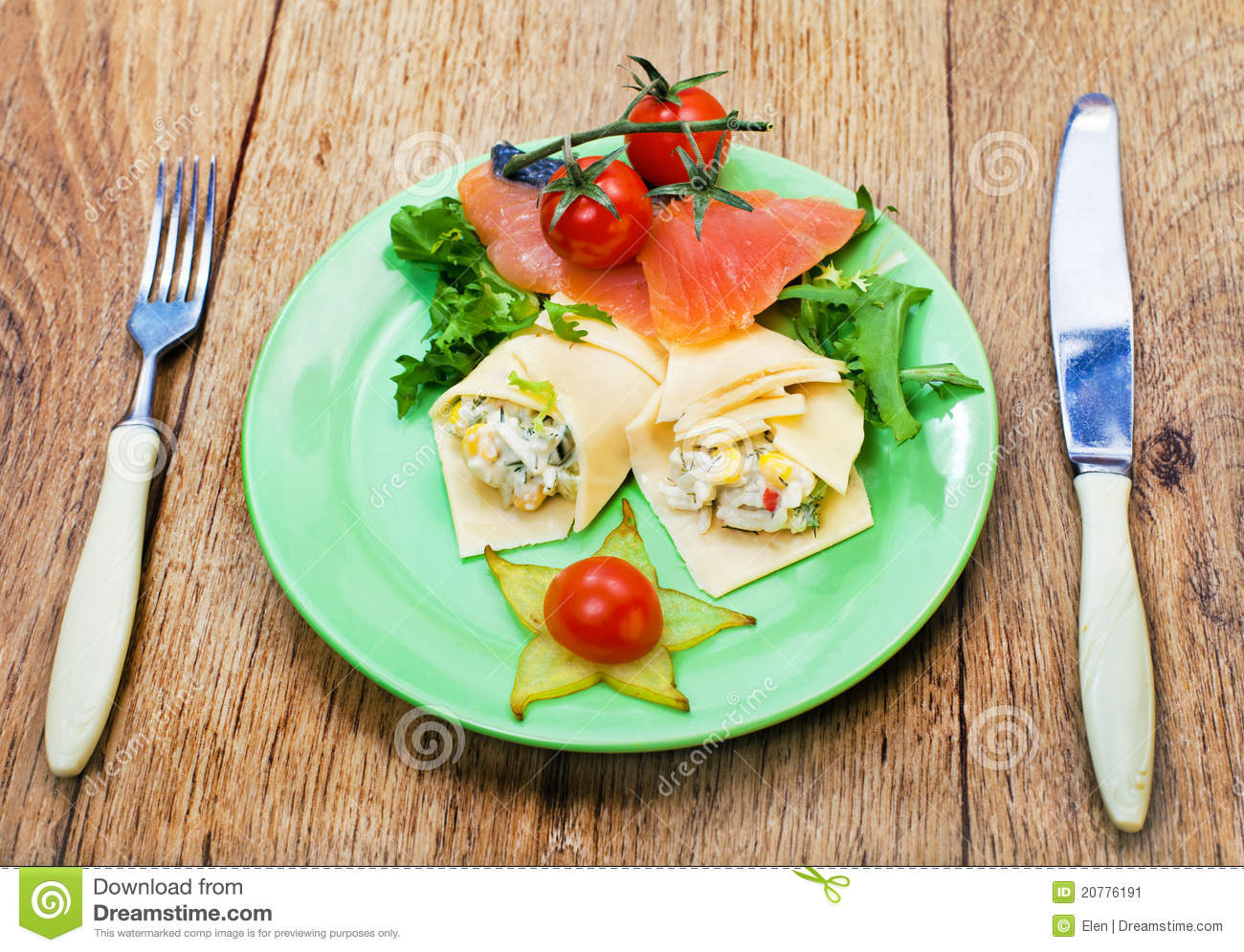 Appetizing of salmon fish and cheese rolls stock image for Fish and cheese
