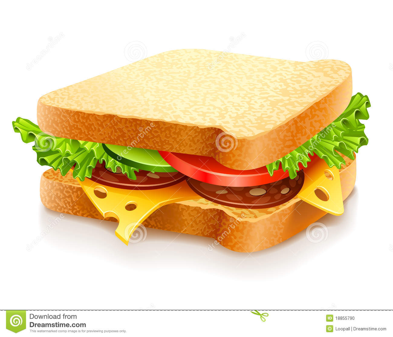 Appetizing sandwich with cheese and vegetables