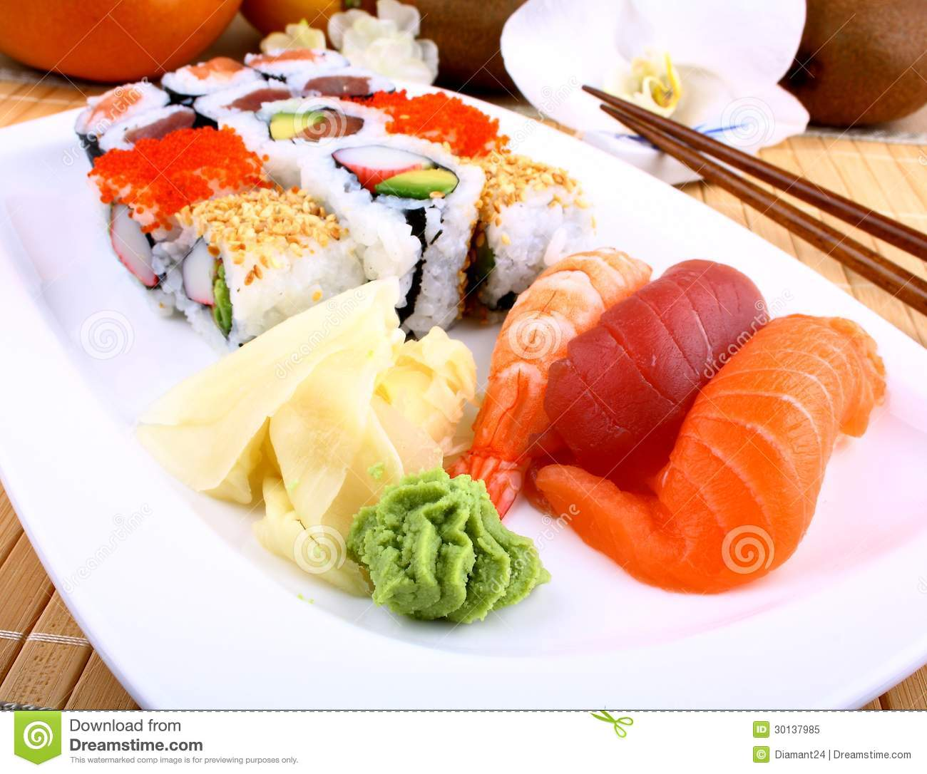 Appetizing Sushi With Wasabi And Chopsticks Stock Image ...