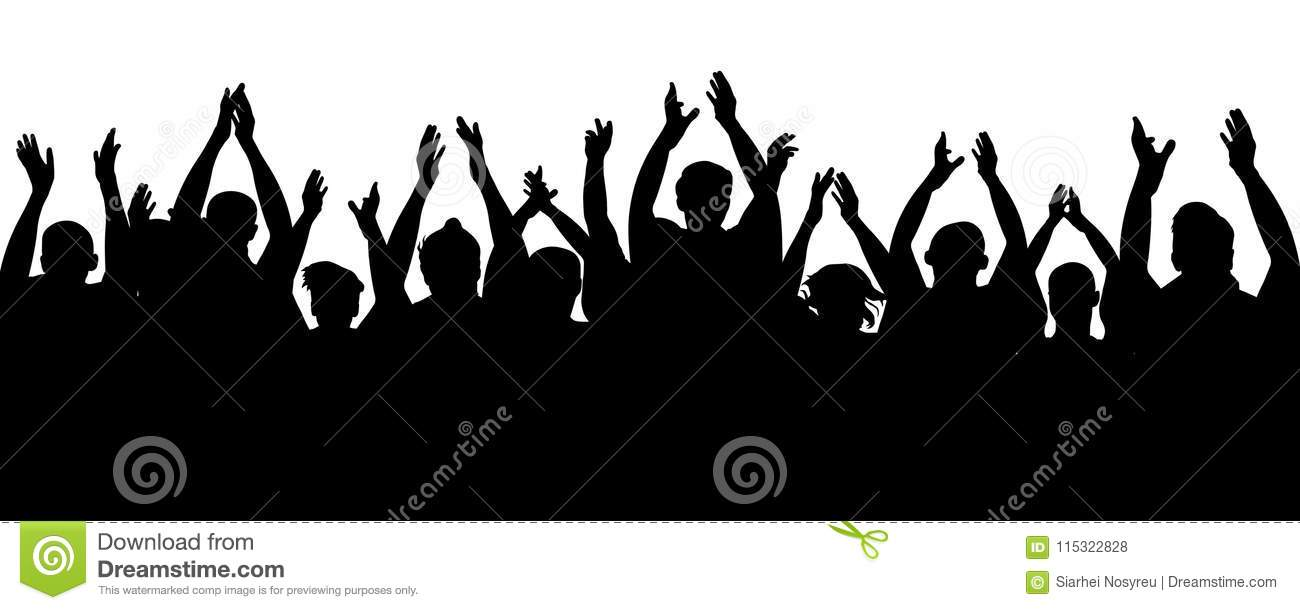 Applause audience. Crowd people cheering, cheer hands up. Cheerful mob fans applauding, clapping. Party, concert, sport.