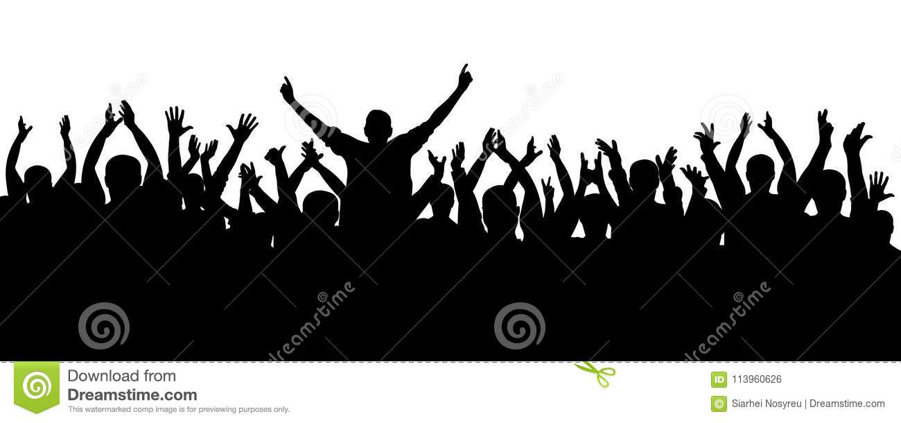 Applause cheerful crowd people silhouette. Concert, party. Funny cheering, sports fans, isolated vector.