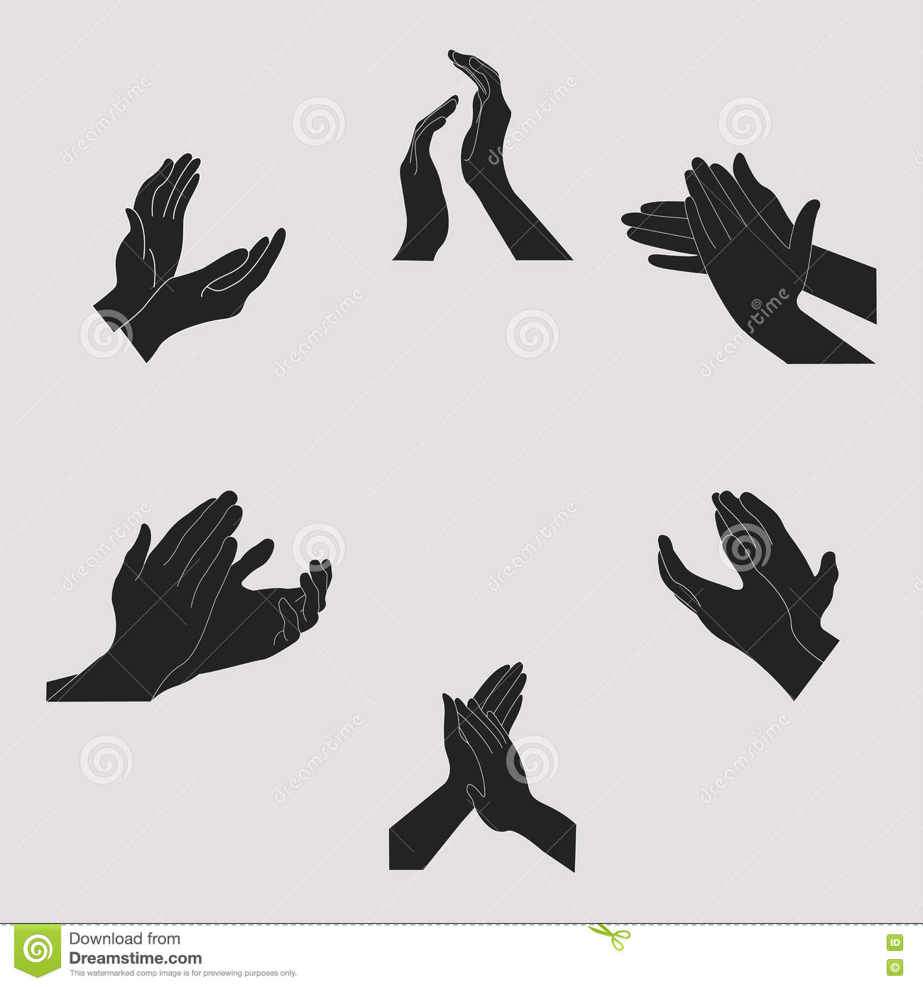 applause set clapping hands stock vector illustration of hand