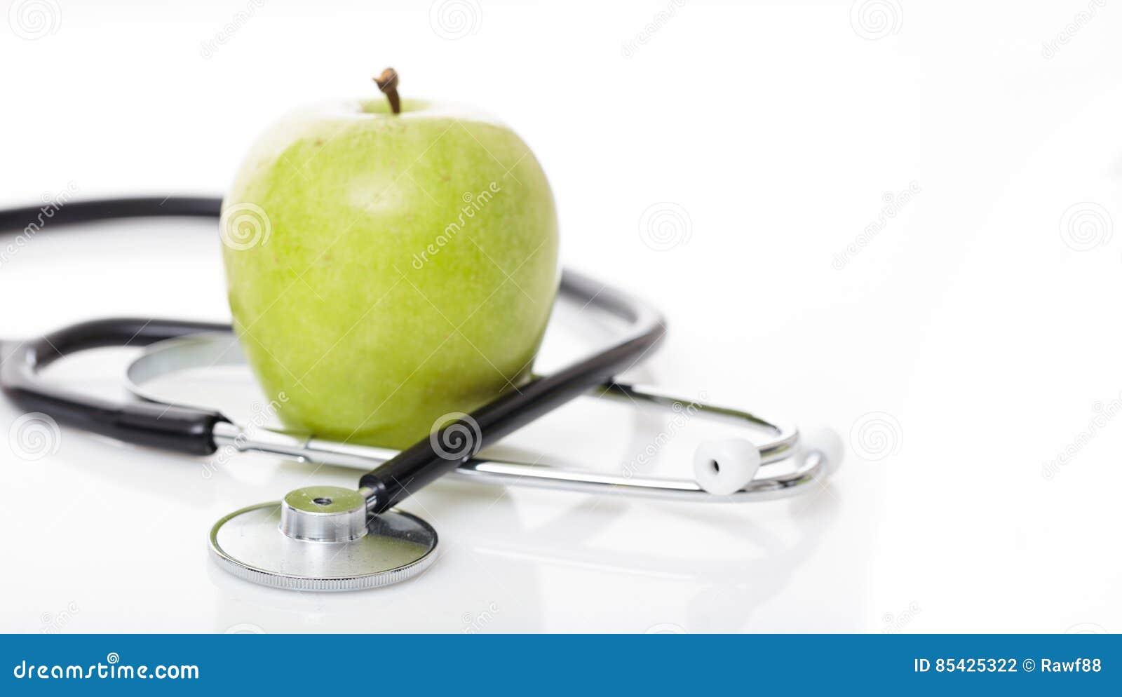 Apple και στηθοσκόπιο στο λευκό