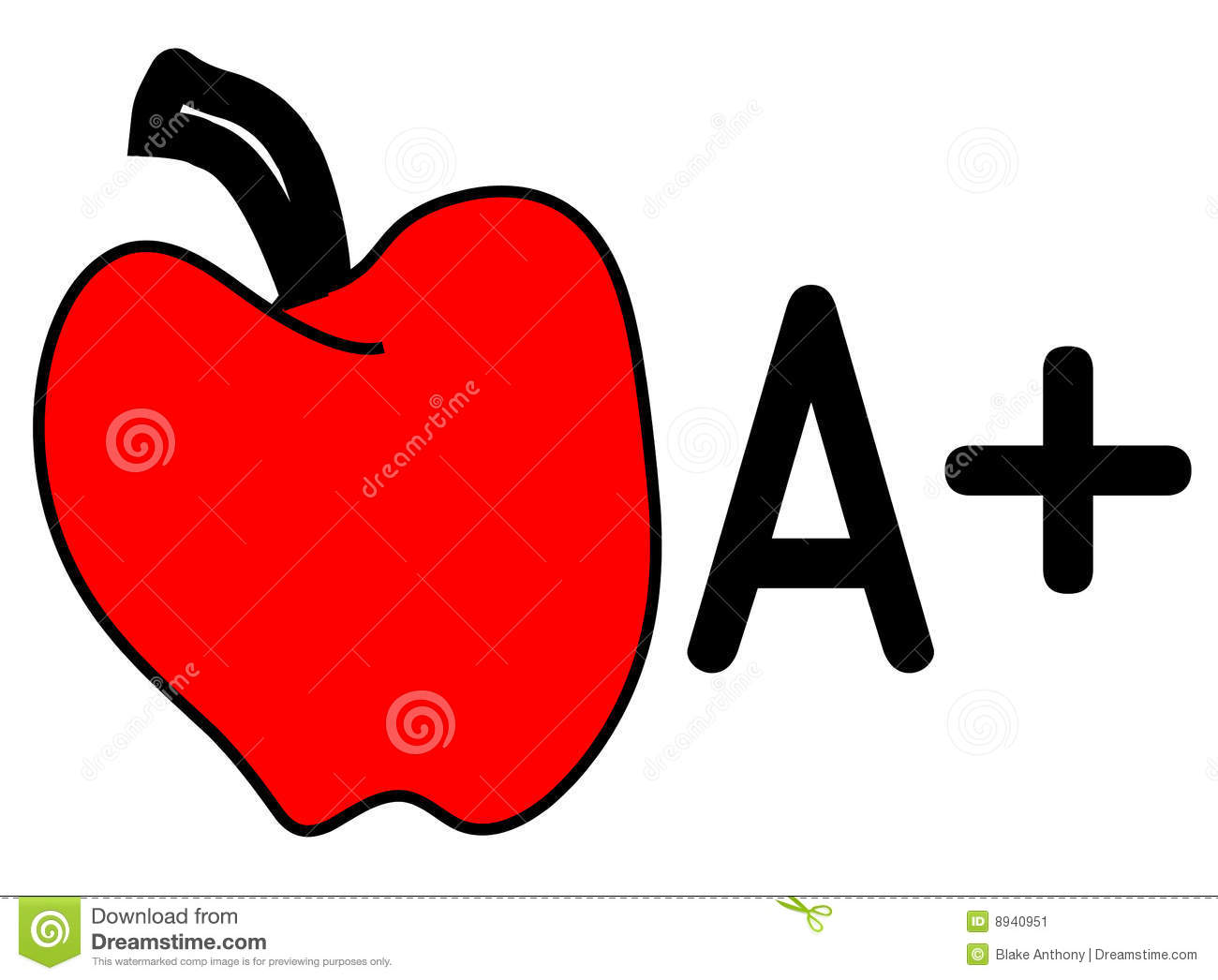 Vector illustration of an apple and A+.