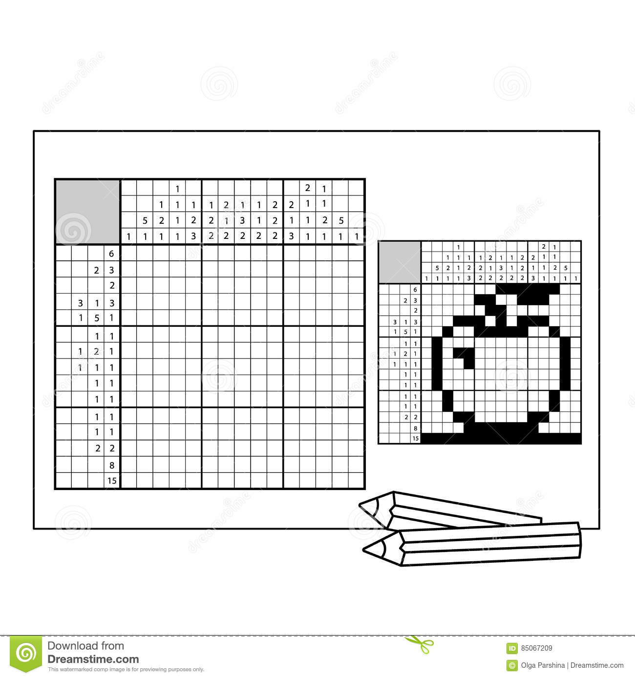 graphic relating to Printable Nonograms known as Apple. Black And White Jap Crossword With Solution
