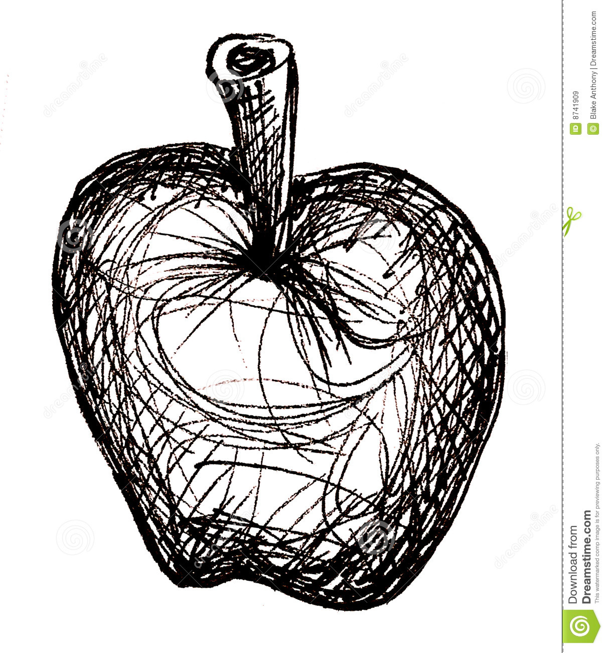 Apple black and white sketch