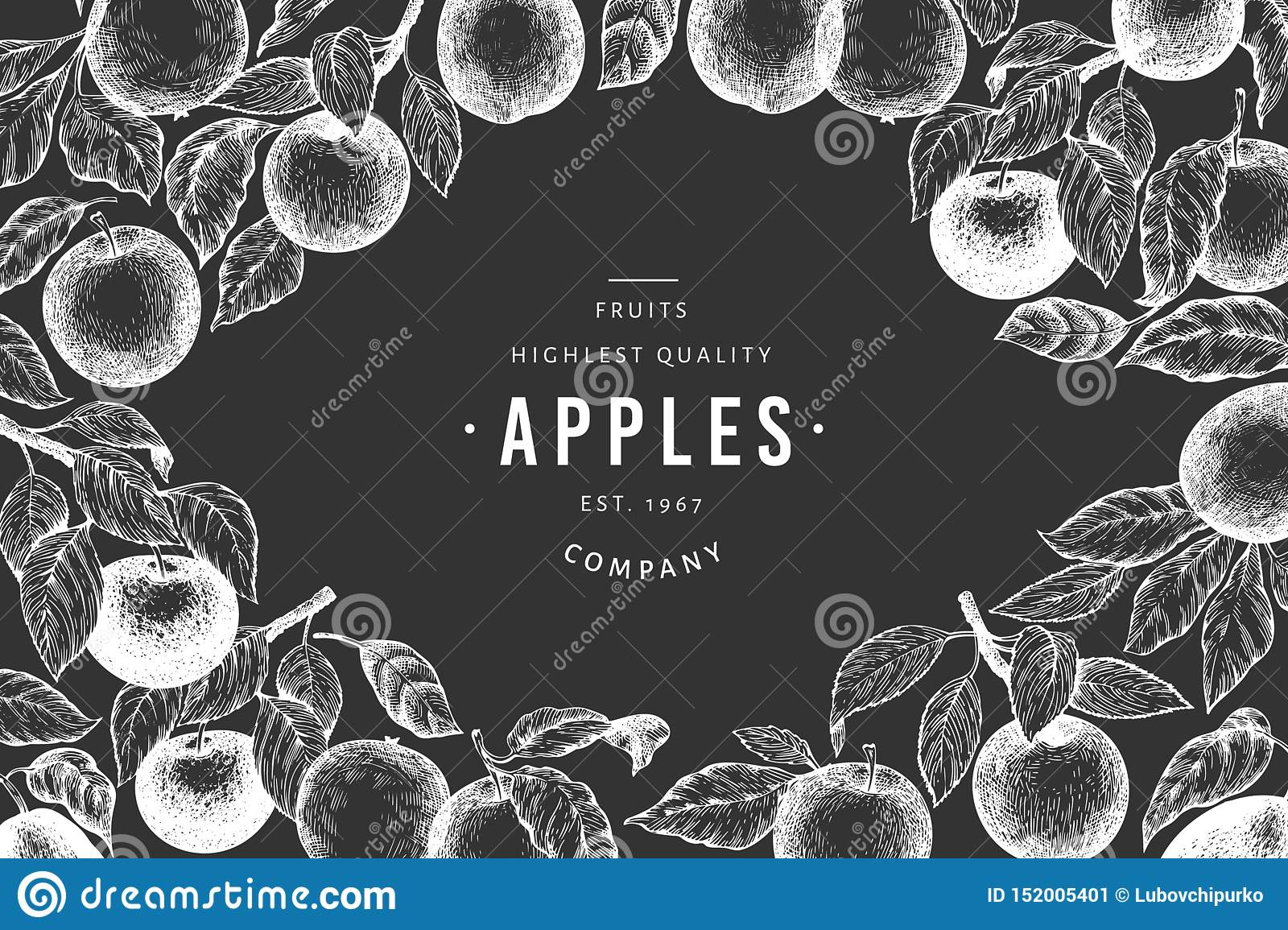 Apple branches design template. Hand drawn vector garden fruit illustration on chalk board. Engraved style fruit frame. Vintage