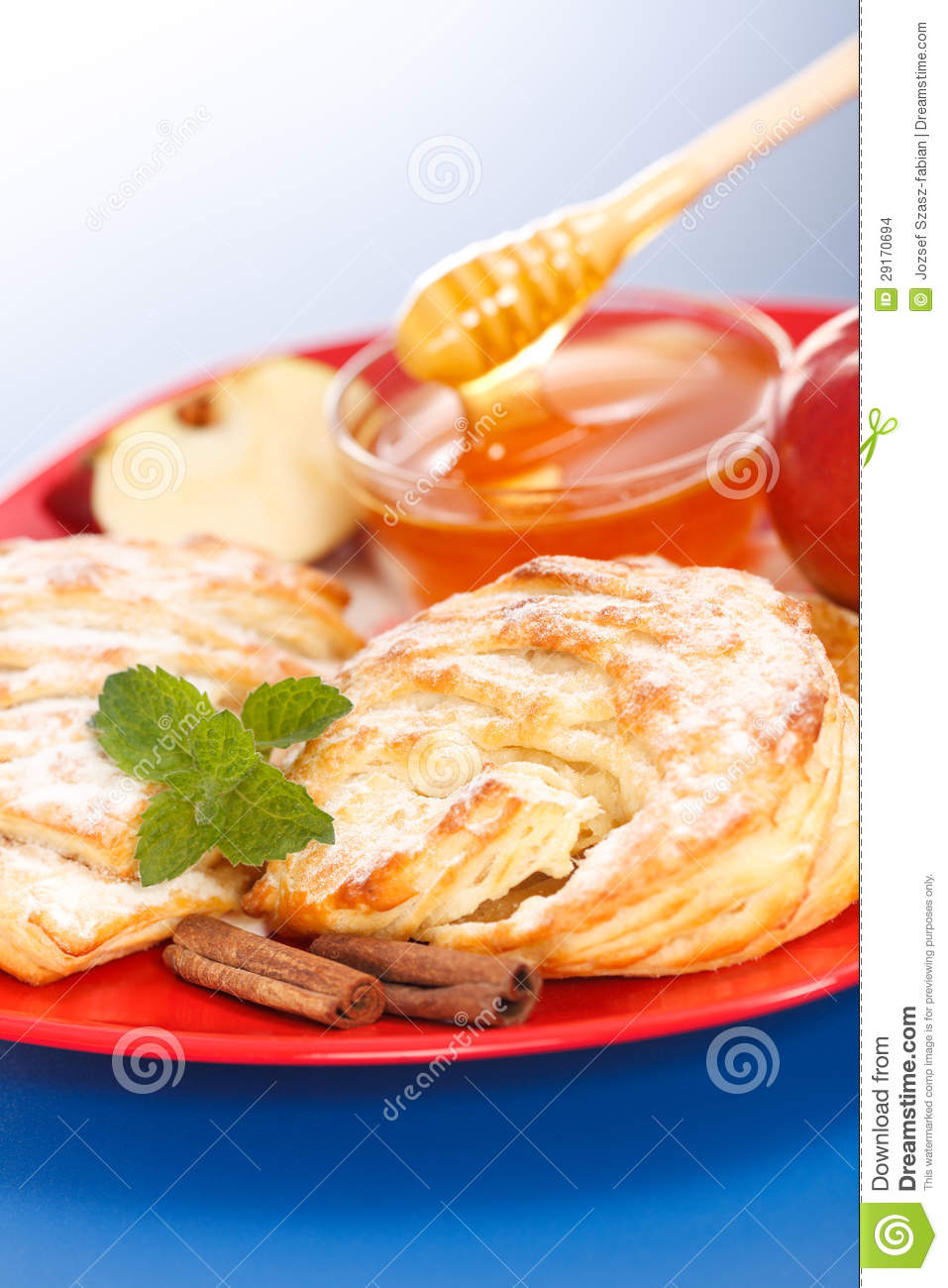 Apple Cakes On Plate, Honey And Apple Pieces Around Stock Images ...