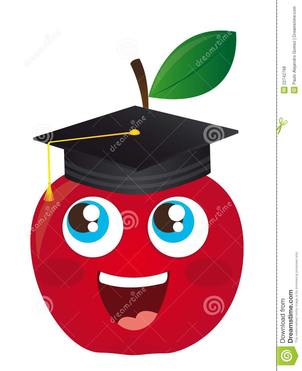 Happy apple cartoon graduate isolated vector illustration.