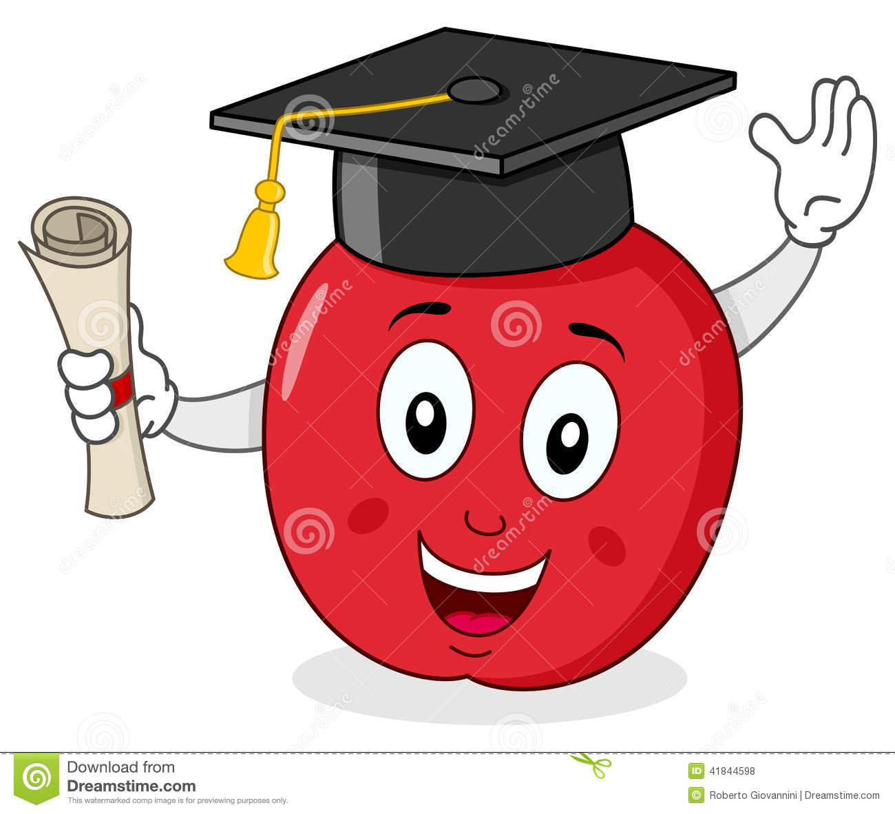 Apple Character with Graduation Hat