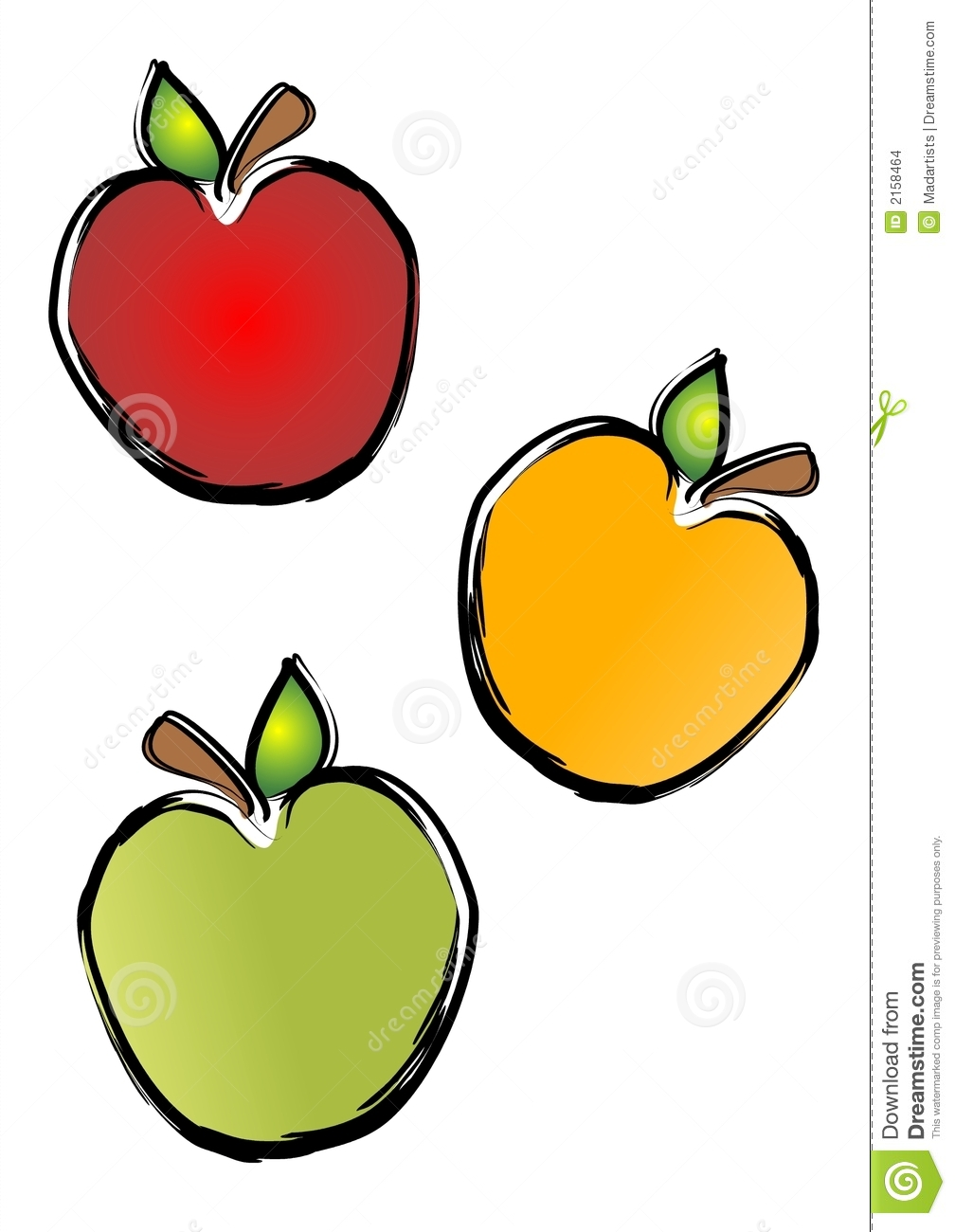 apples illustration in red, yellow and green on an isolated white ...