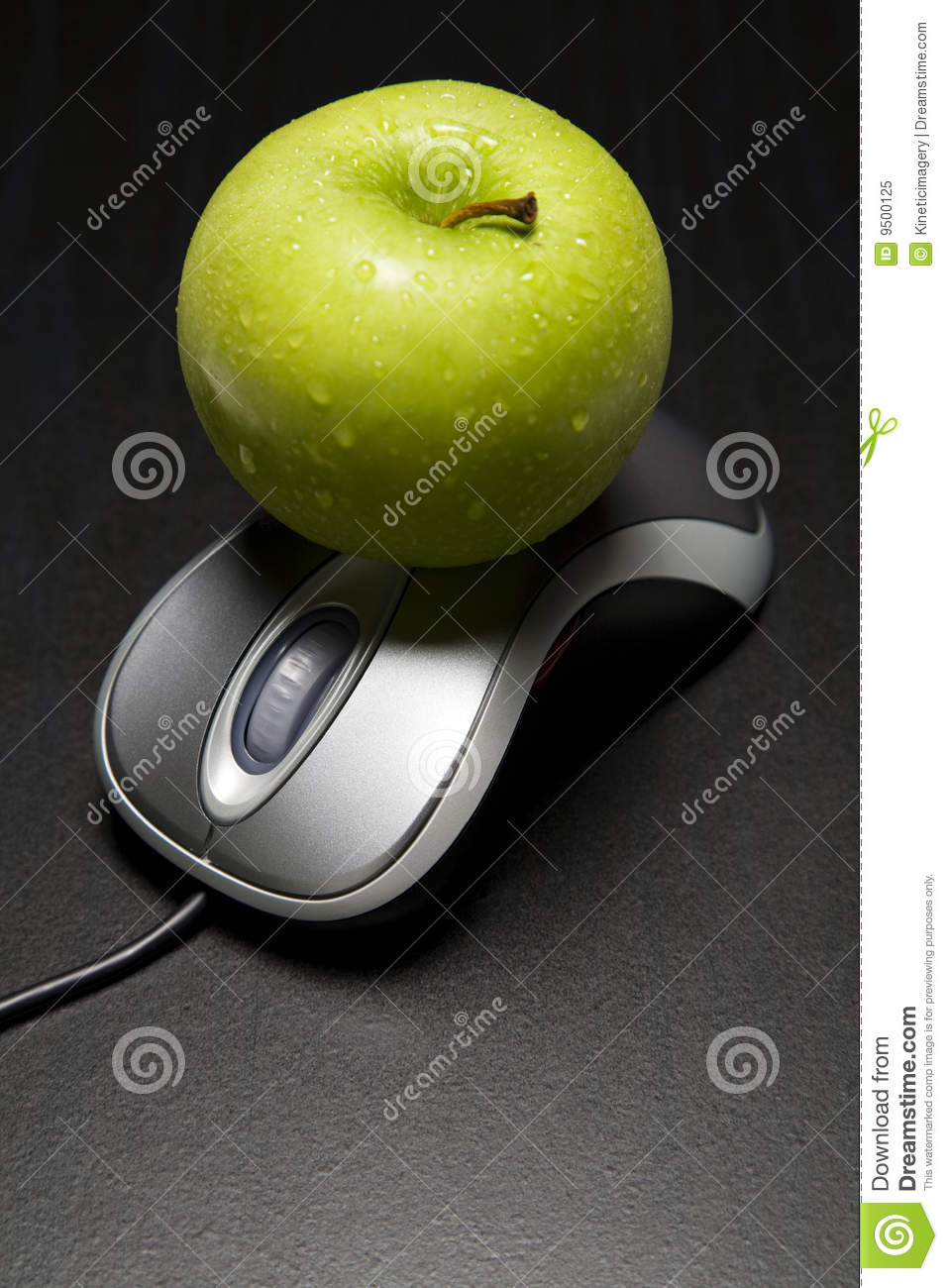 Apple on a computer mouse