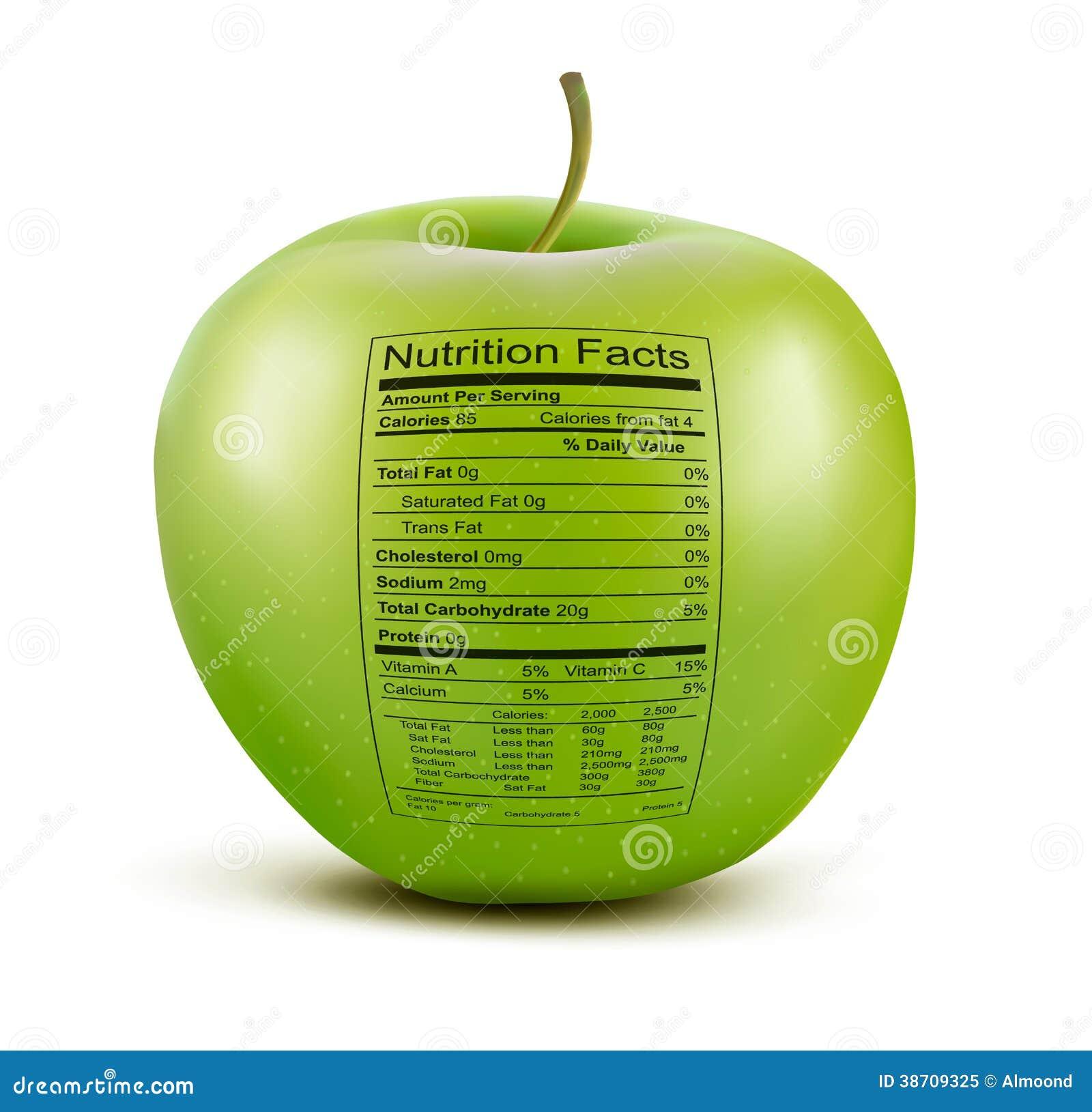 Apple con la etiqueta de los hechos de la nutrición.