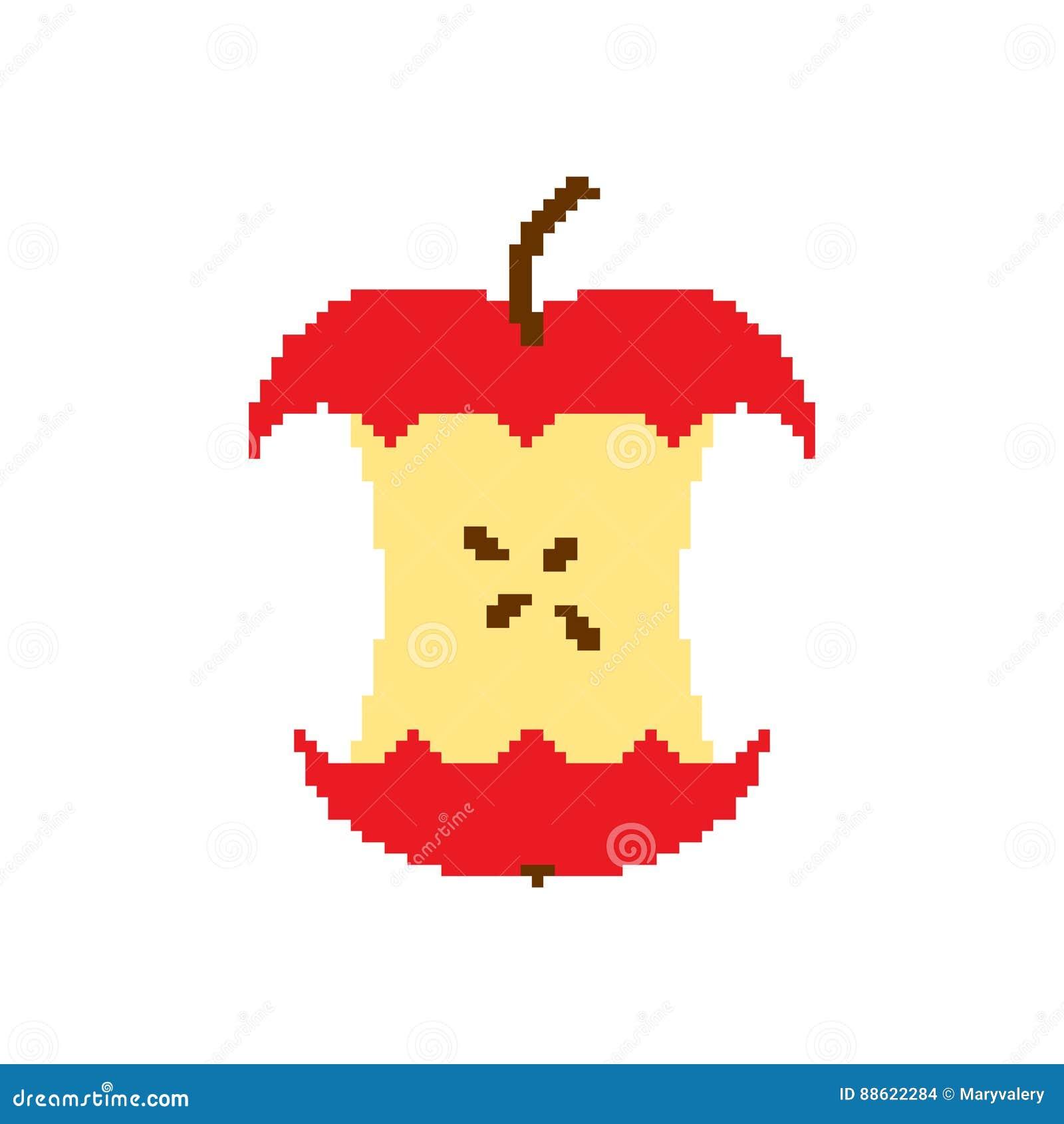 Apple Creusent Lart De Pixel Disolement Sur Le Fond Blanc