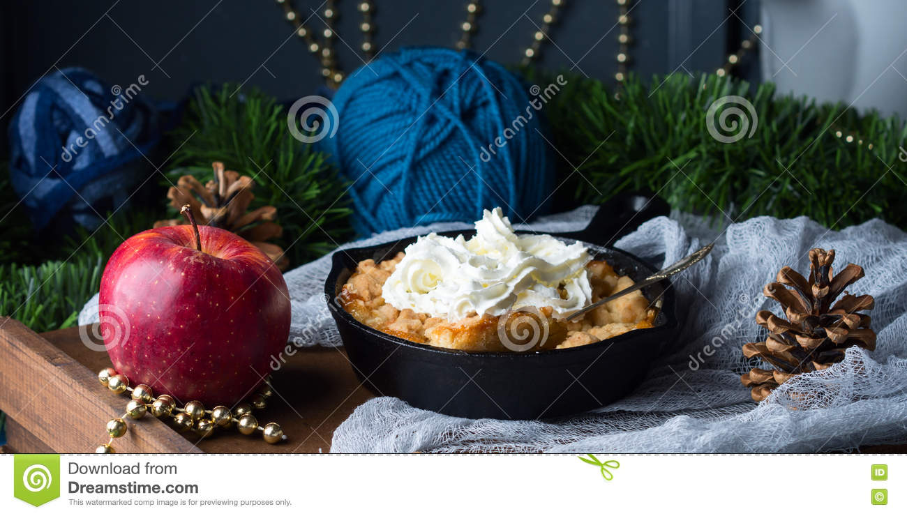 apple crumble with cream as christmas dessert banner - Christmas Dessert Decorations