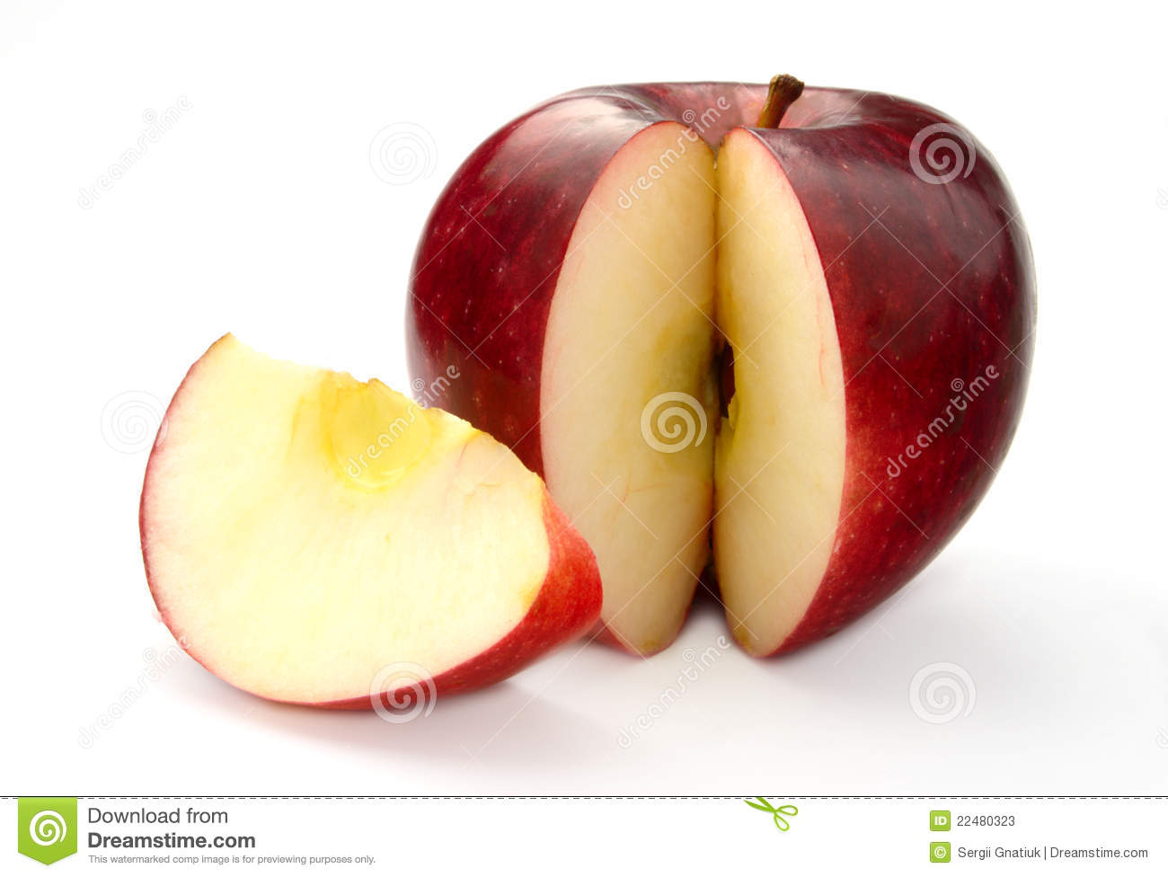 Apple With Cut Stock Photos - Image: 22480323