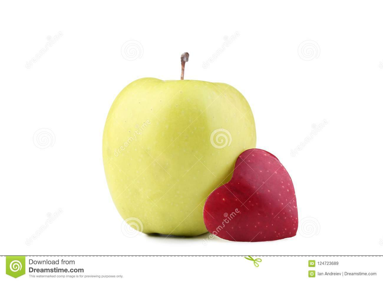 Apple With Cutout Heart Shape Stock Image Image Of