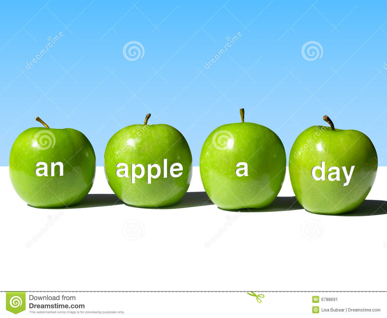 Row of Four Green Apples Bearing the Words An Apple a Day on a ...