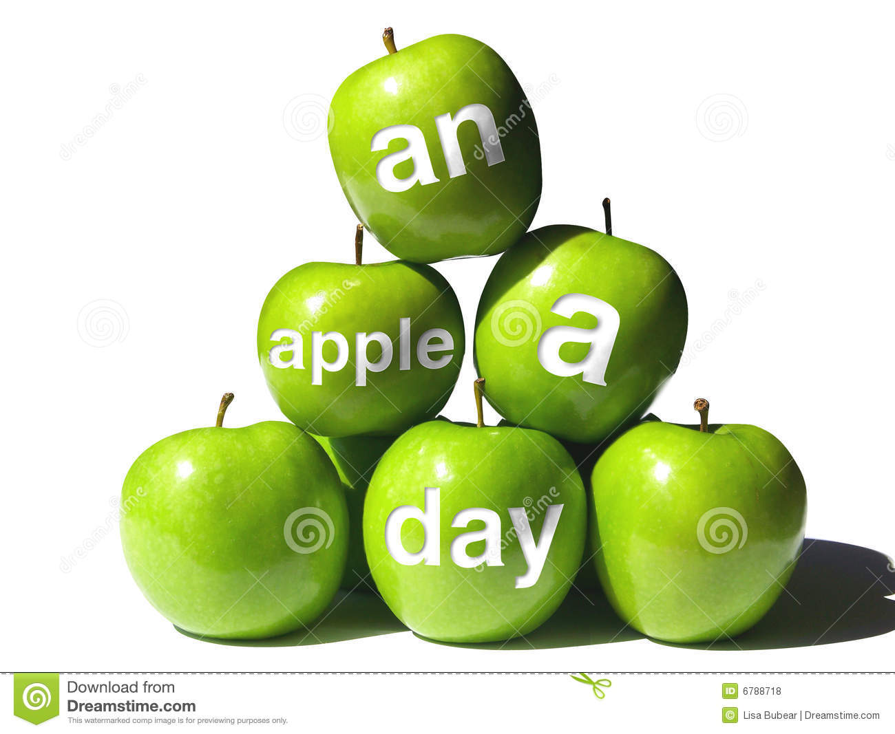 ... of Green Apples with Four Bearing the Words An Apple a Day