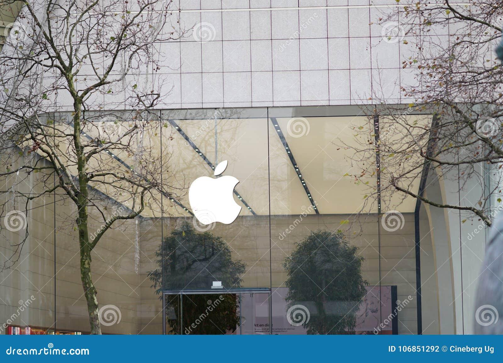 Apple-embleem buiten een opslag
