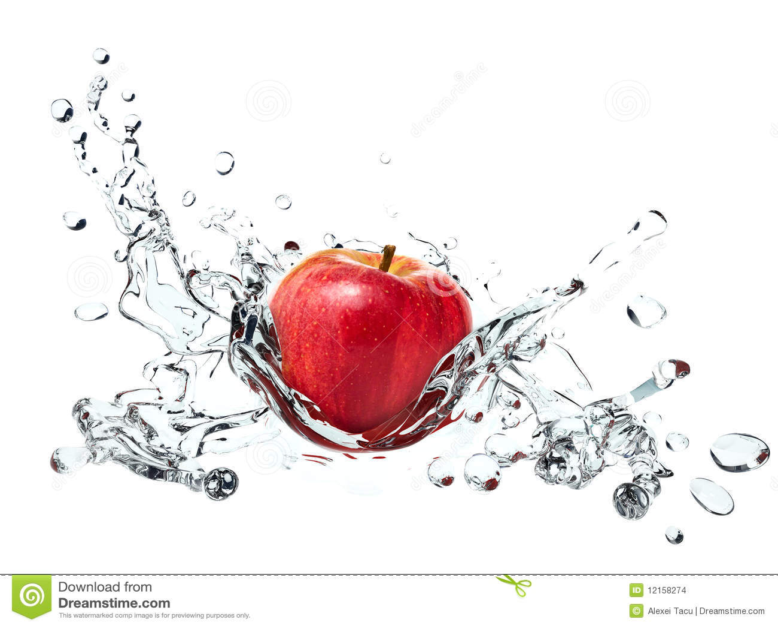 Apple entraînant l éclaboussure de l eau