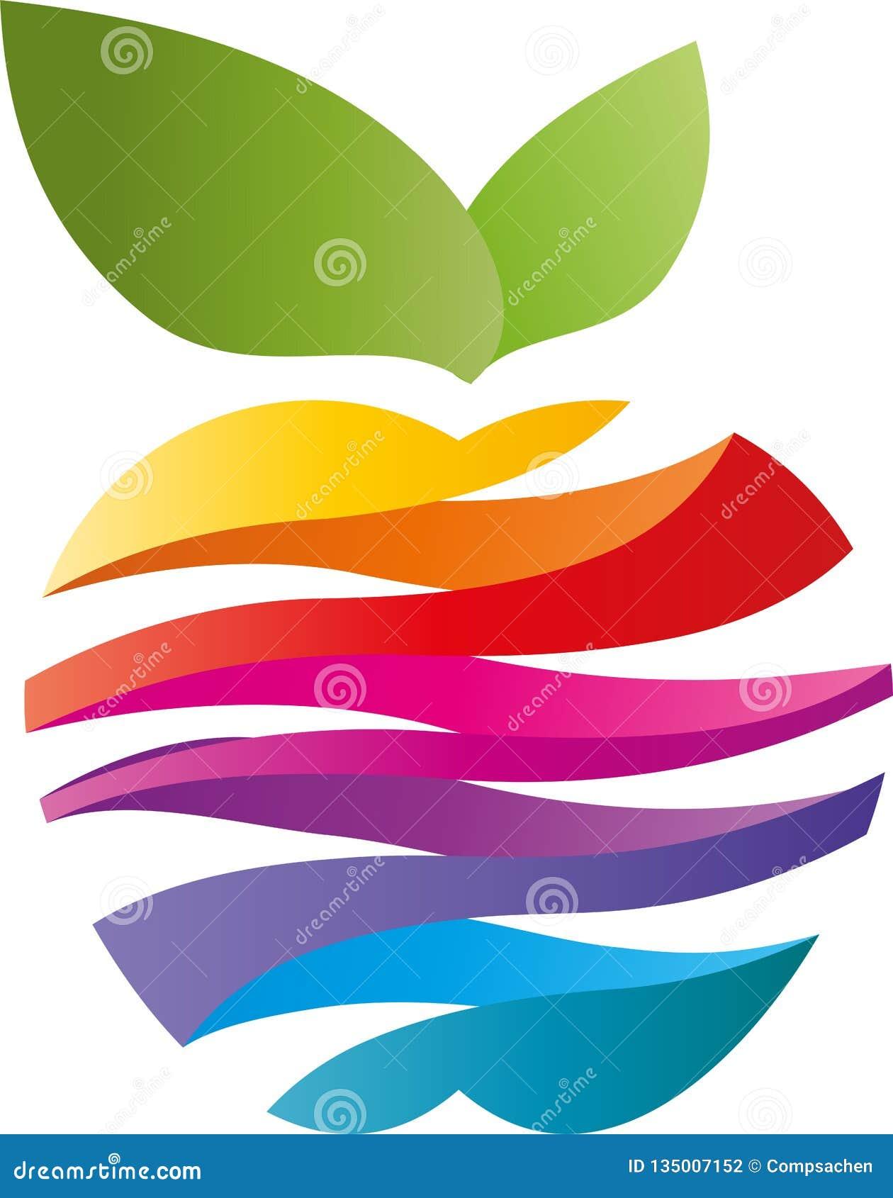 Apple fez das ondas em cores do arco-íris, em maçã e em logotipo do pintor
